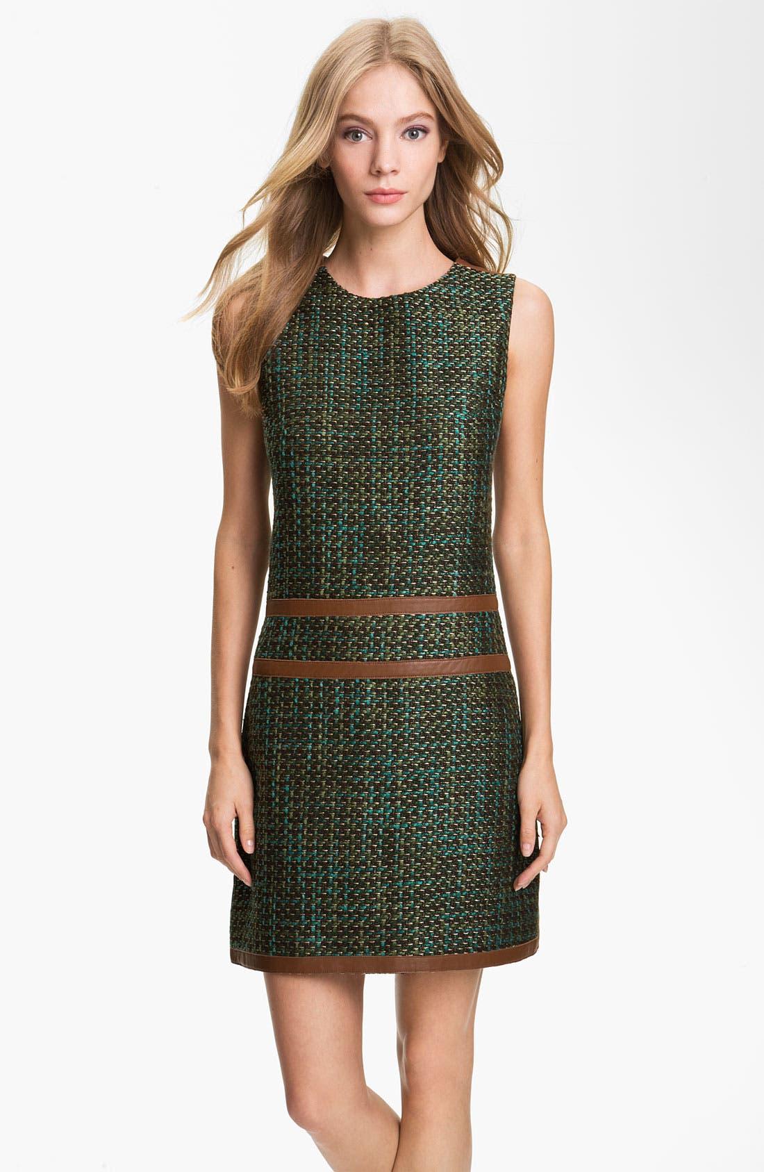 Main Image - Rachel Roy Tweed & Leather Shift Dress