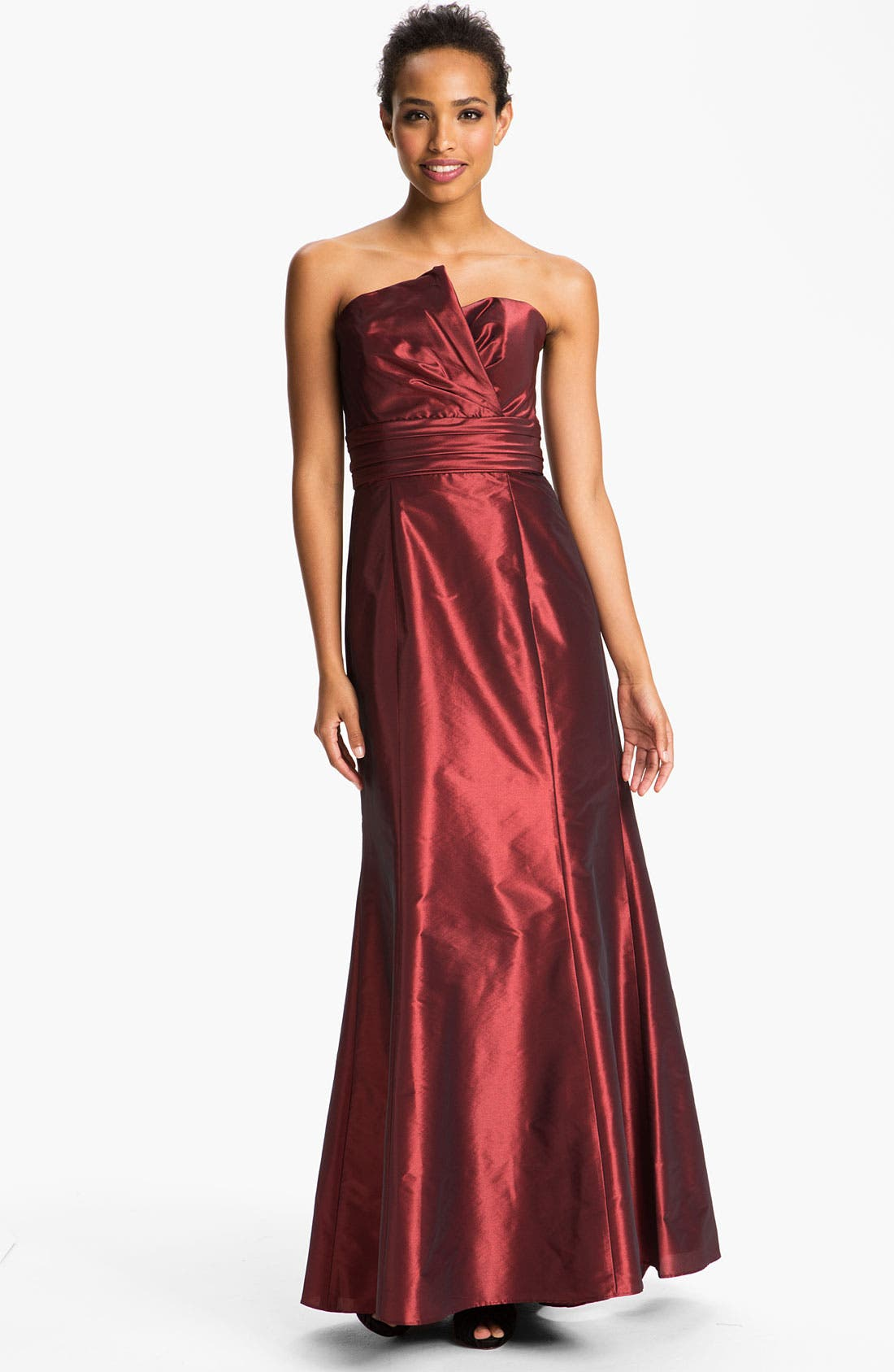 Alternate Image 1 Selected - Amsale Asymmetrical Neck Taffeta Gown