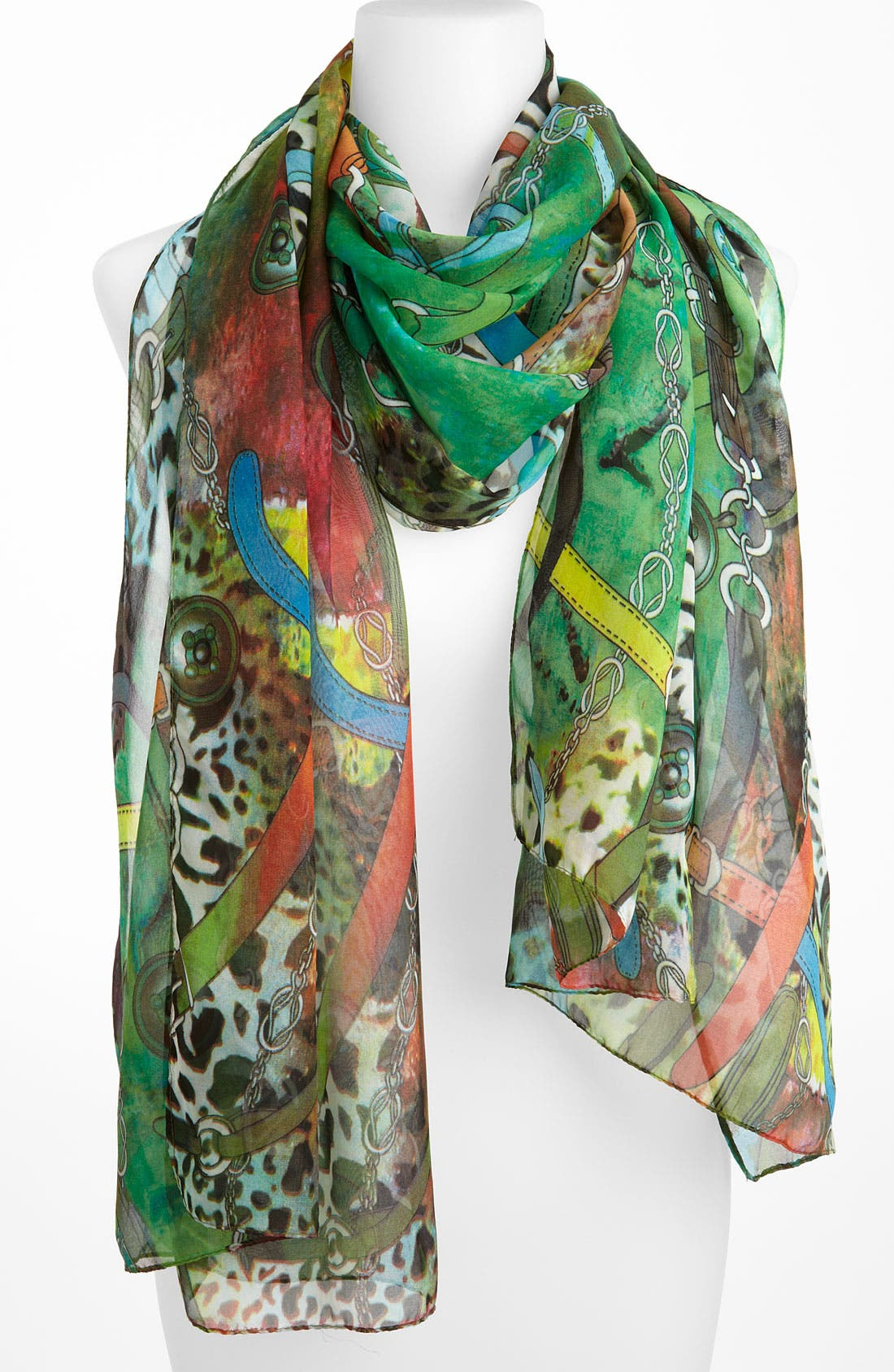Main Image - Eyeful 'Animal & Chain' Oblong Scarf