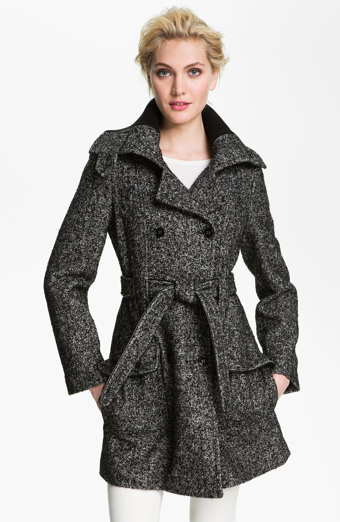 Main Image - Calvin Klein Knit Collar Double Breasted Wool Blend Trench