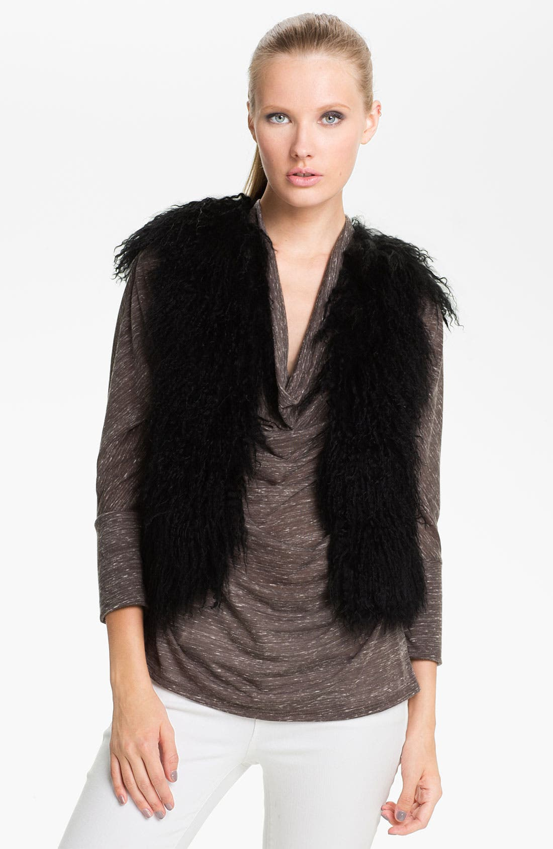 Alternate Image 1 Selected - Jessica Wilde Genuine Tibetan Lamb Fur & Knit Vest