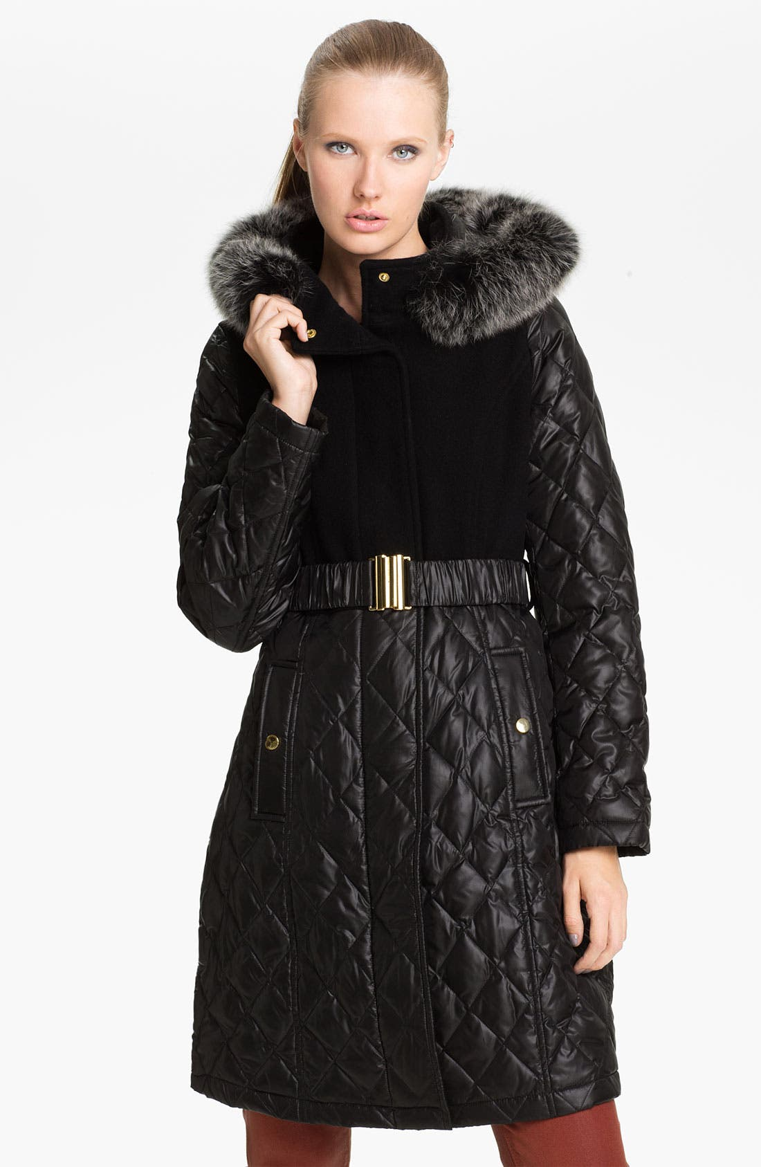 Alternate Image 1 Selected - Sachi Mix Media Coat with Genuine Fox Fur Trim