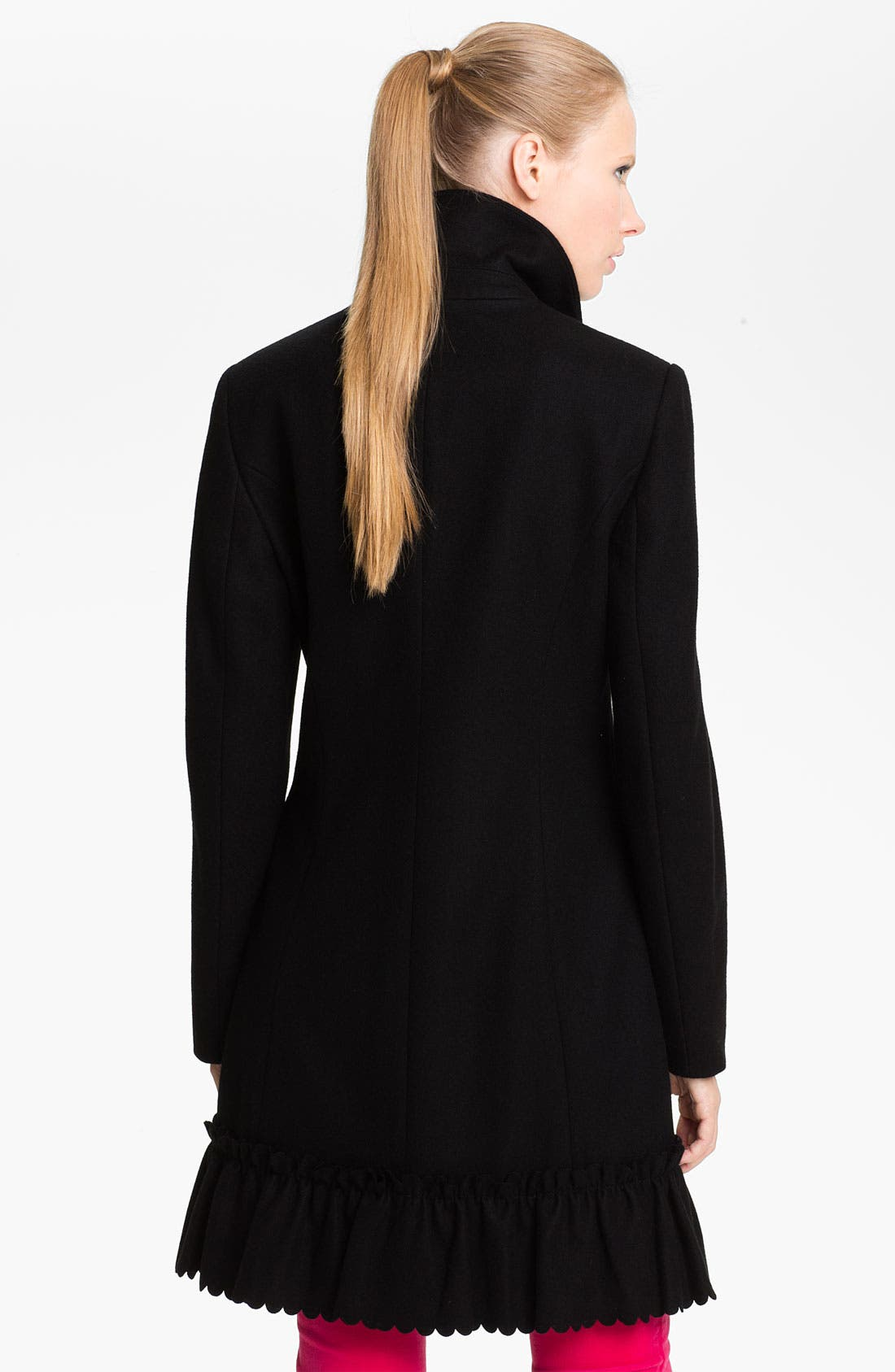 Alternate Image 2  - Betsey Johnson Ruffle Hem Walking Coat