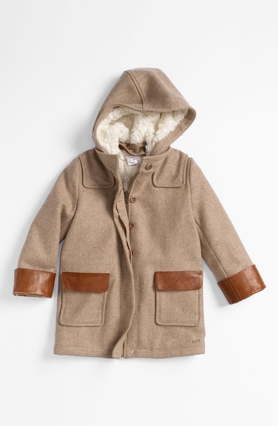 Alternate Image 1 Selected - Chloé Hooded Wool Blend Coat (Little Girls & Big Girls)