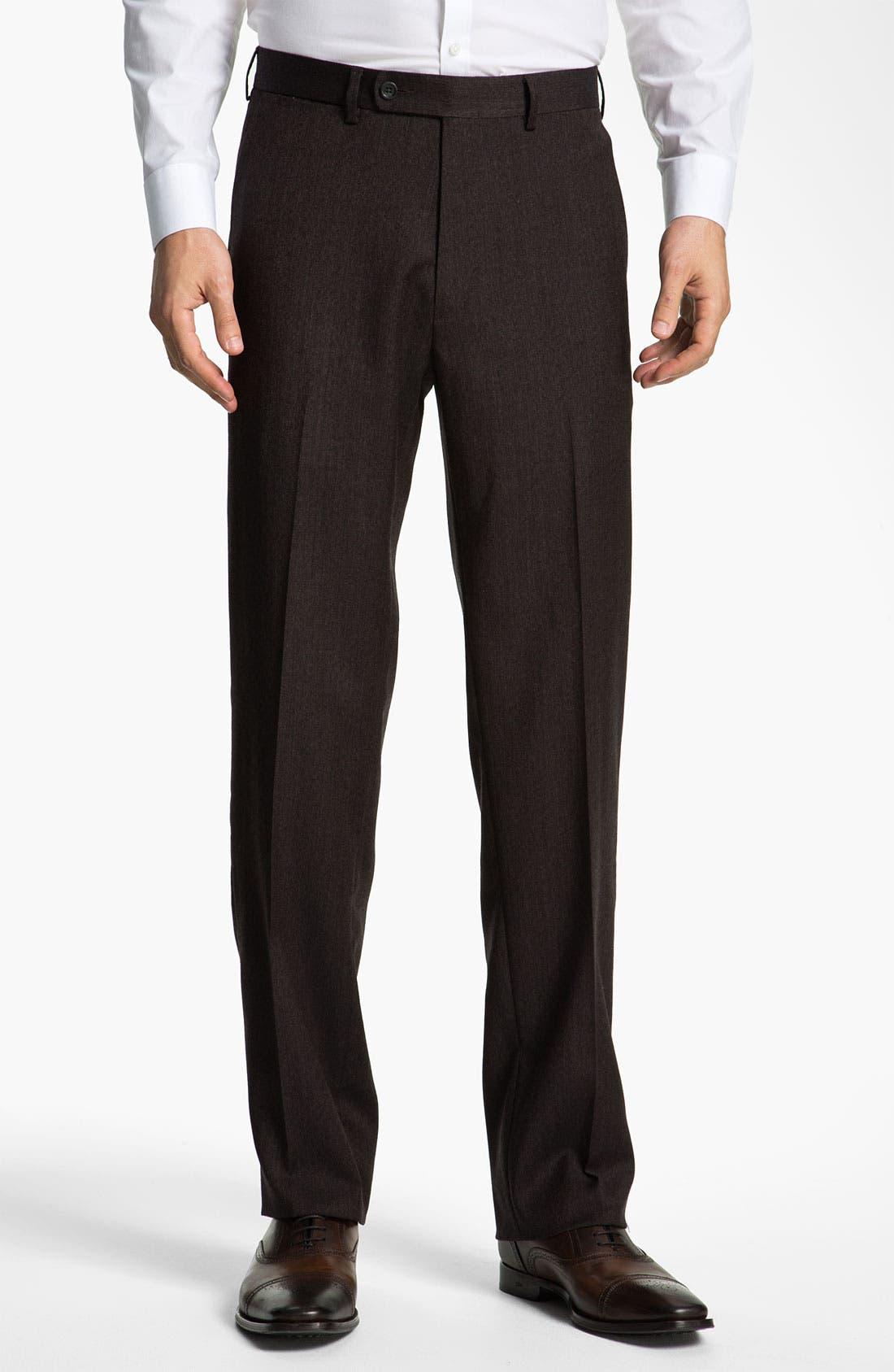 Alternate Image 1 Selected - Peter Millar 'Hi Low' Flat Front Wool Trousers