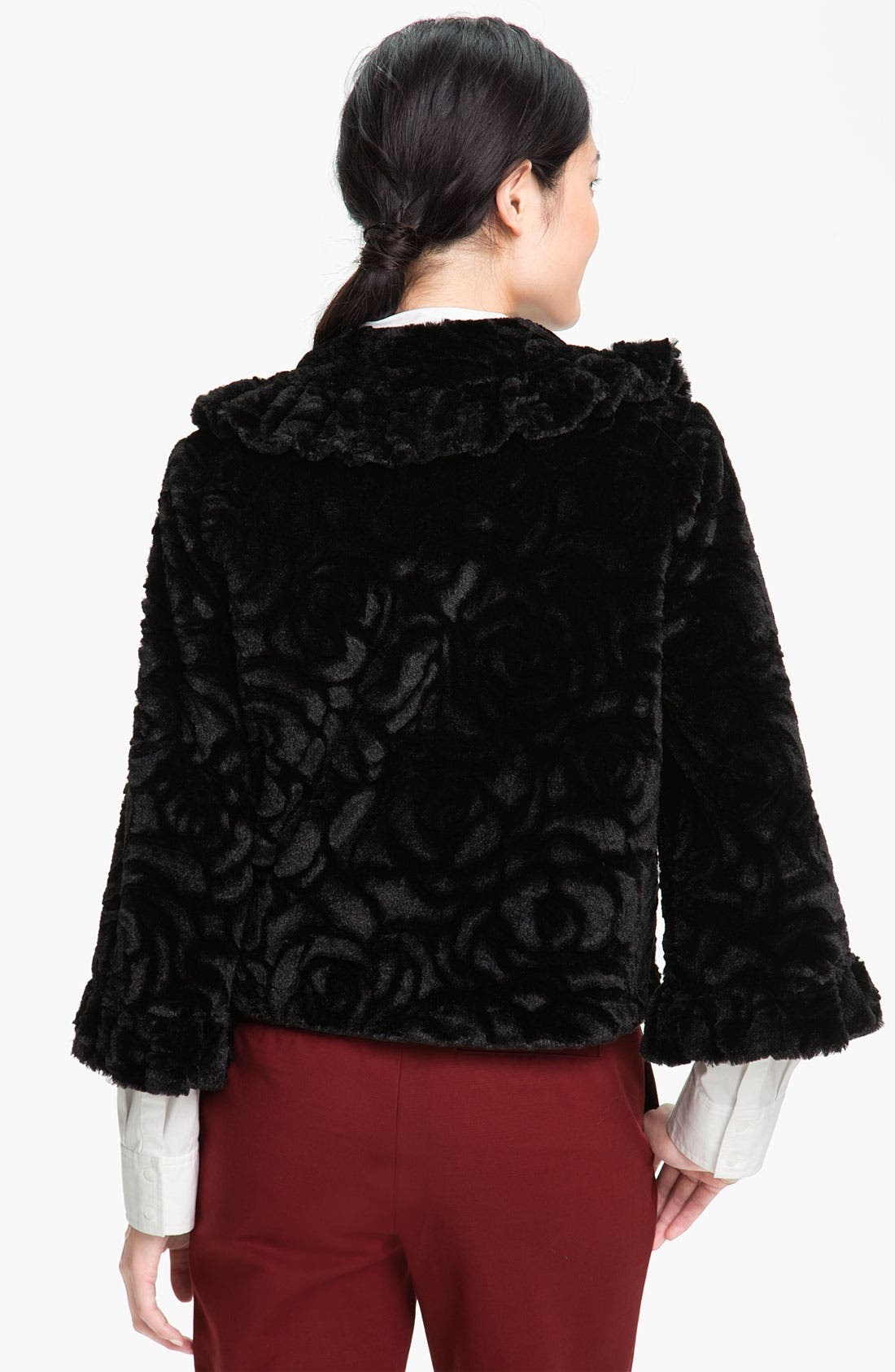 Alternate Image 2  - Damselle Ruffled Faux Fur Crop Coat