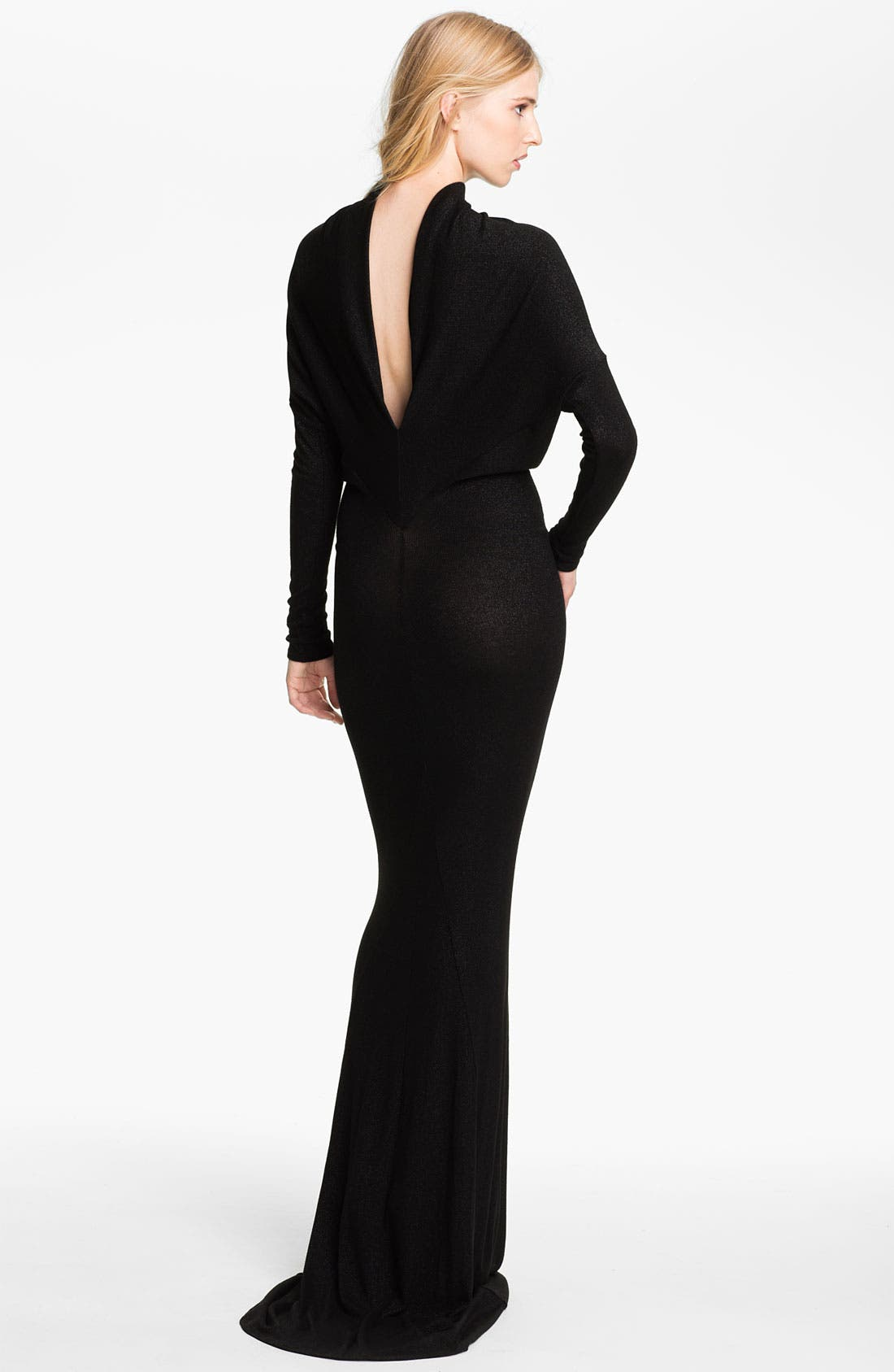 Alternate Image 2  - L'AGENCE Drape Back Lamé Knit Gown
