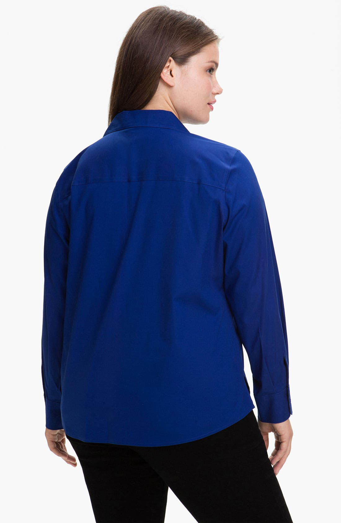 Alternate Image 2  - Foxcroft Wing Collar Shaped Shirt (Plus)