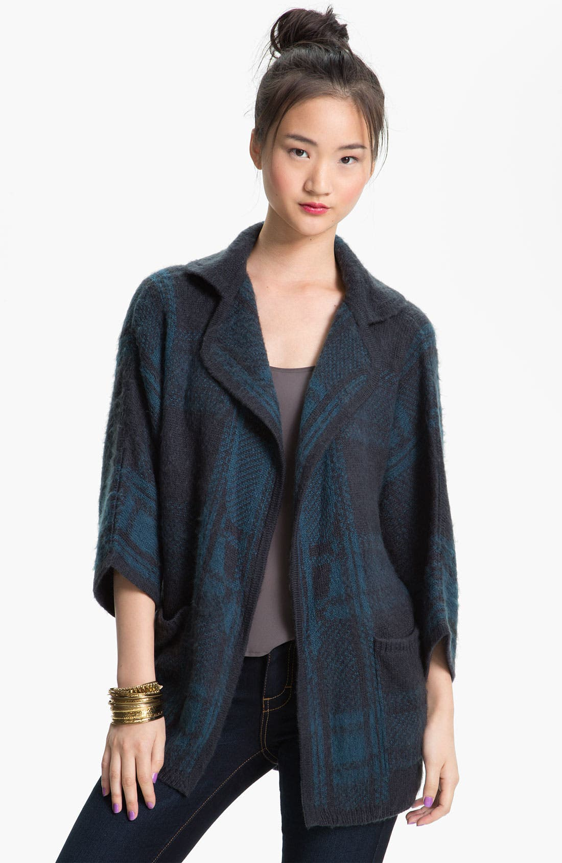 Alternate Image 1 Selected - Rubbish® Plaid Knit Cardigan (Juniors)
