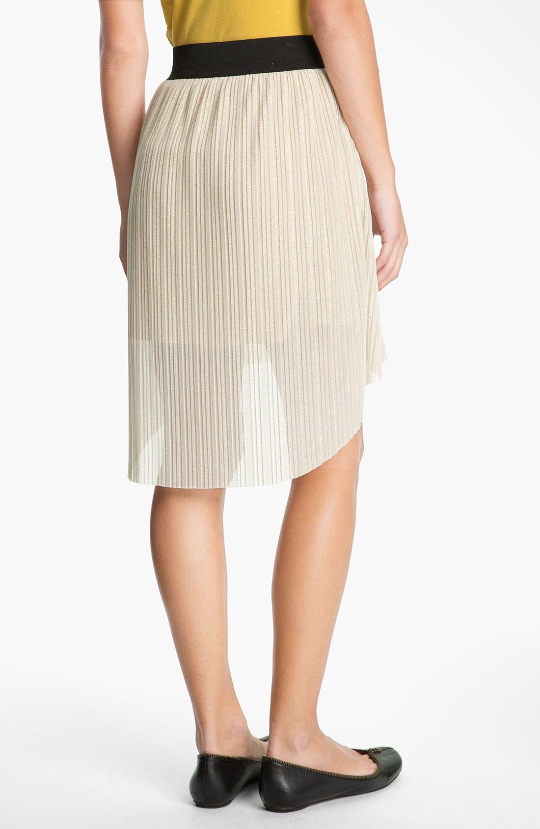 Alternate Image 2  - Mimi Chica Metallic Pleat High/Low Skirt