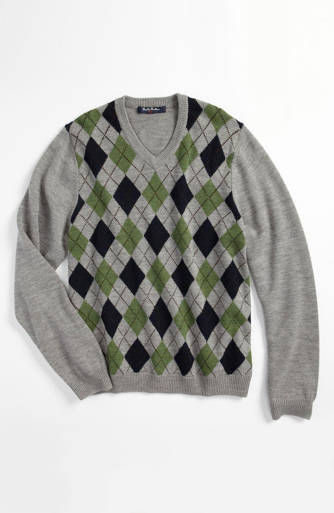 Main Image - Brooks Brothers Argyle V-Neck Sweater (Big Boys)
