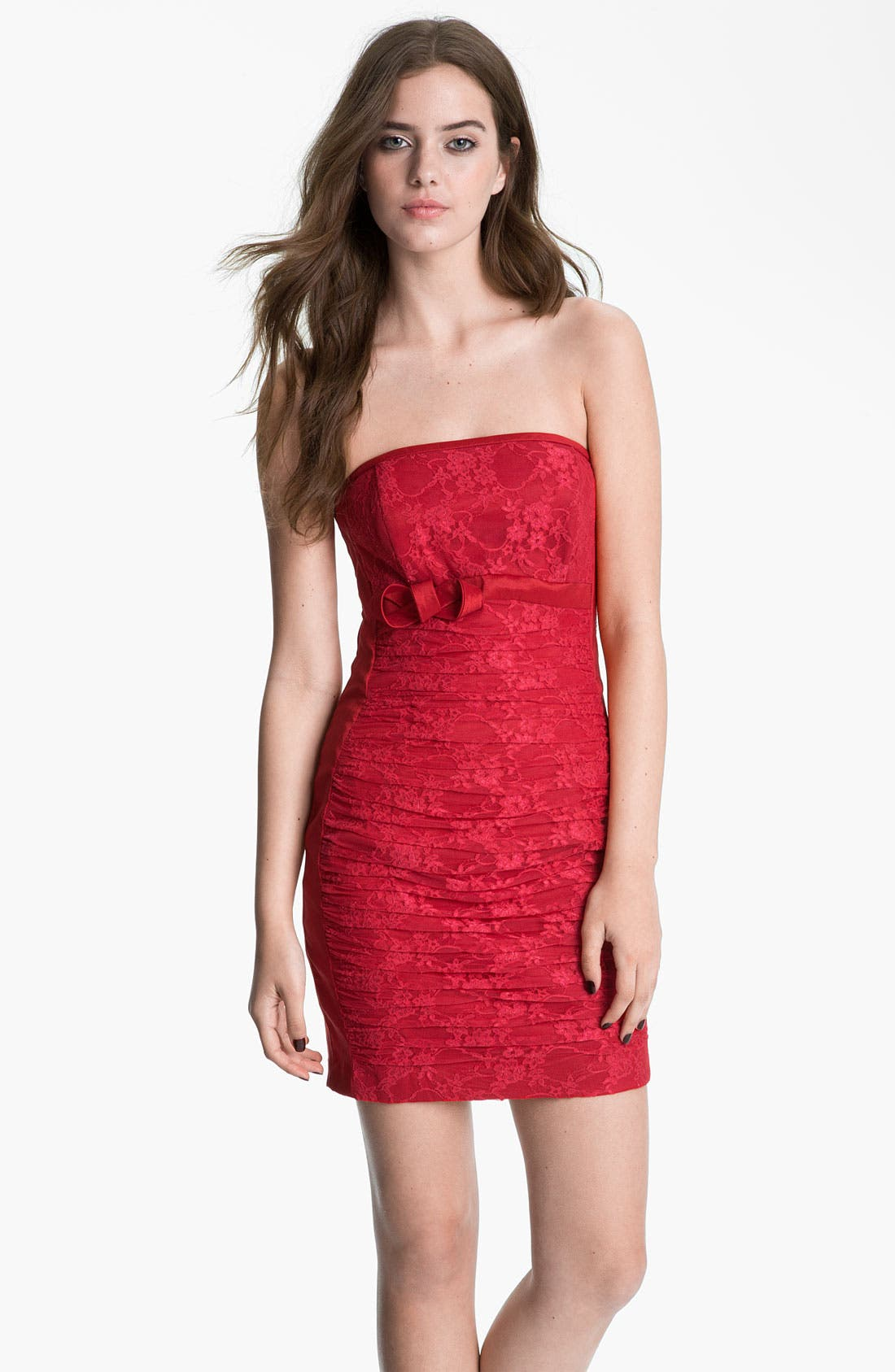 Alternate Image 1  - Jessica McClintock Strapless Lace & Taffeta Sheath Dress