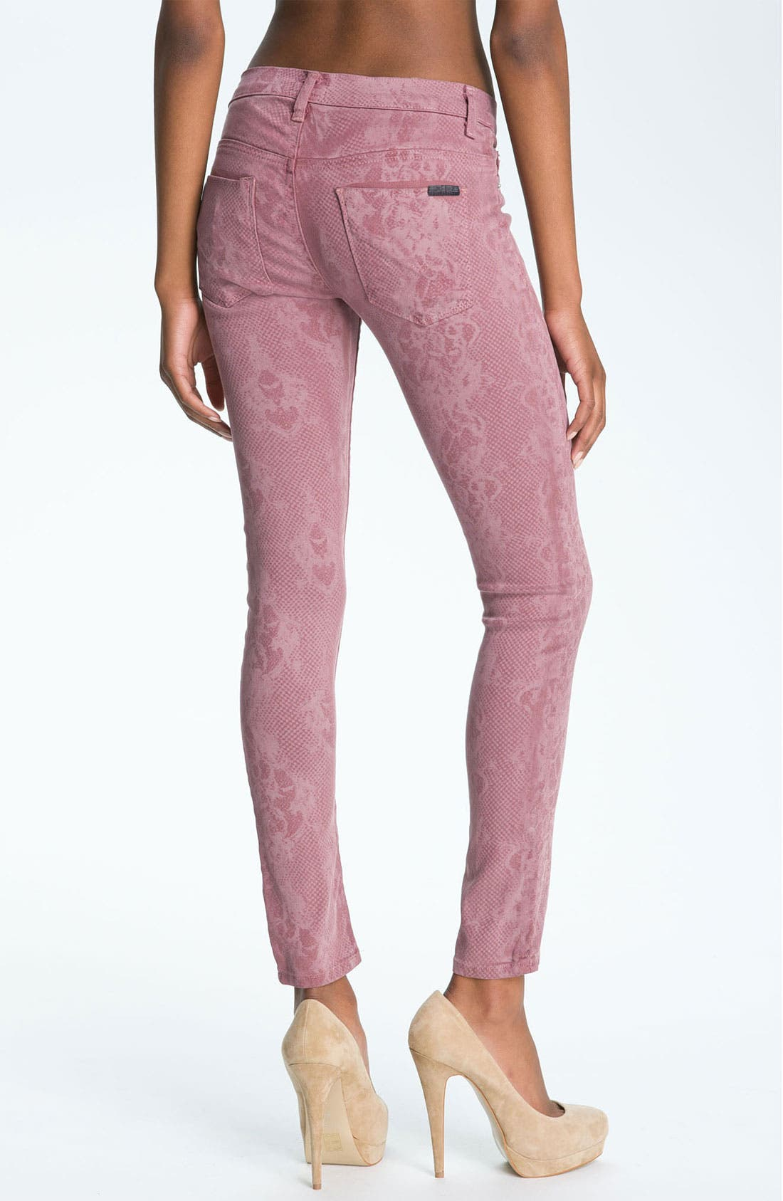 Alternate Image 2  - Hudson Jeans 'Nico' Mid Rise Skinny Stretch Jeans (Blush Lace)