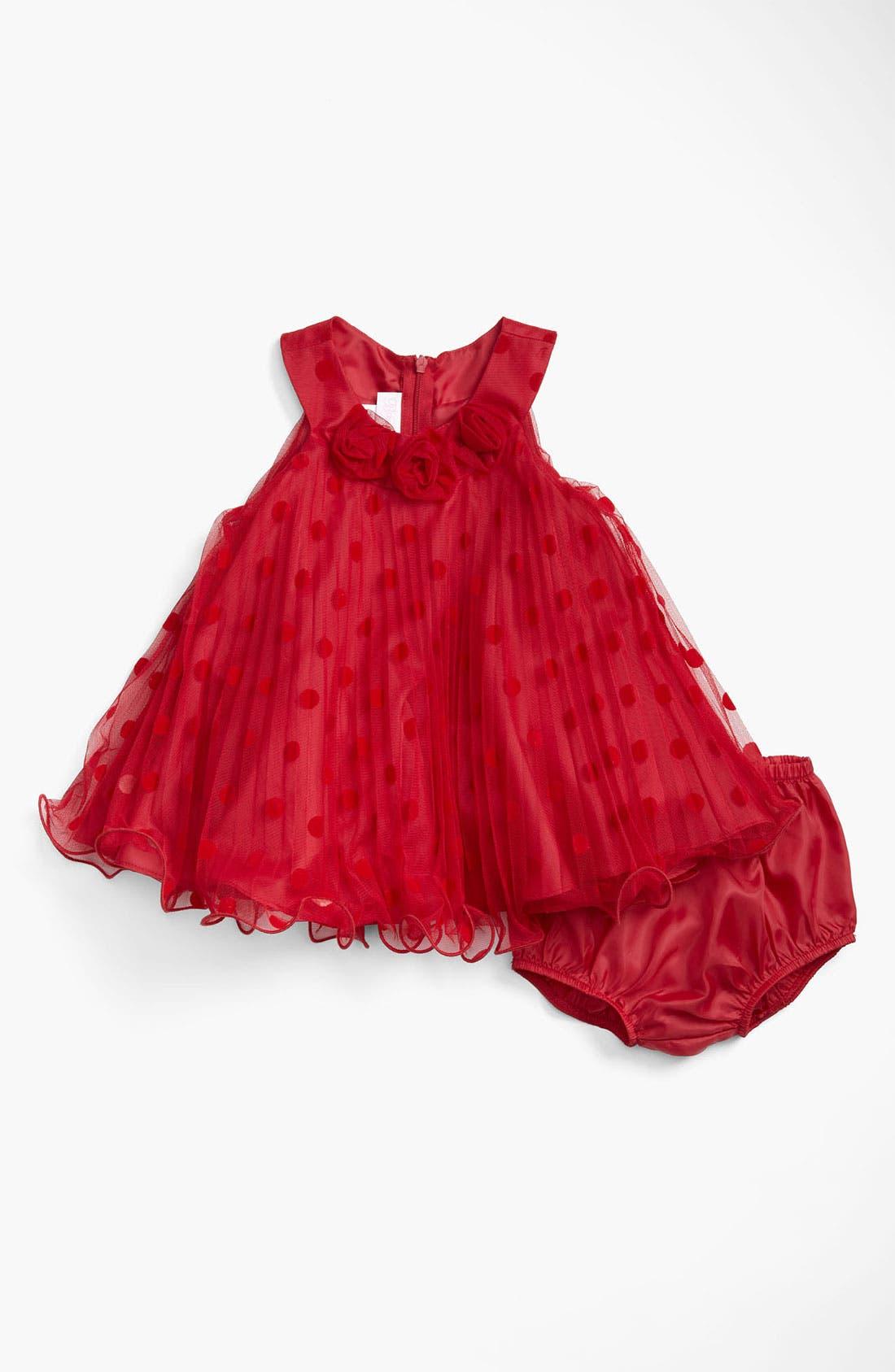 Alternate Image 1 Selected - Gerson & Gerson Polka Dot Mesh Dress (Infant)