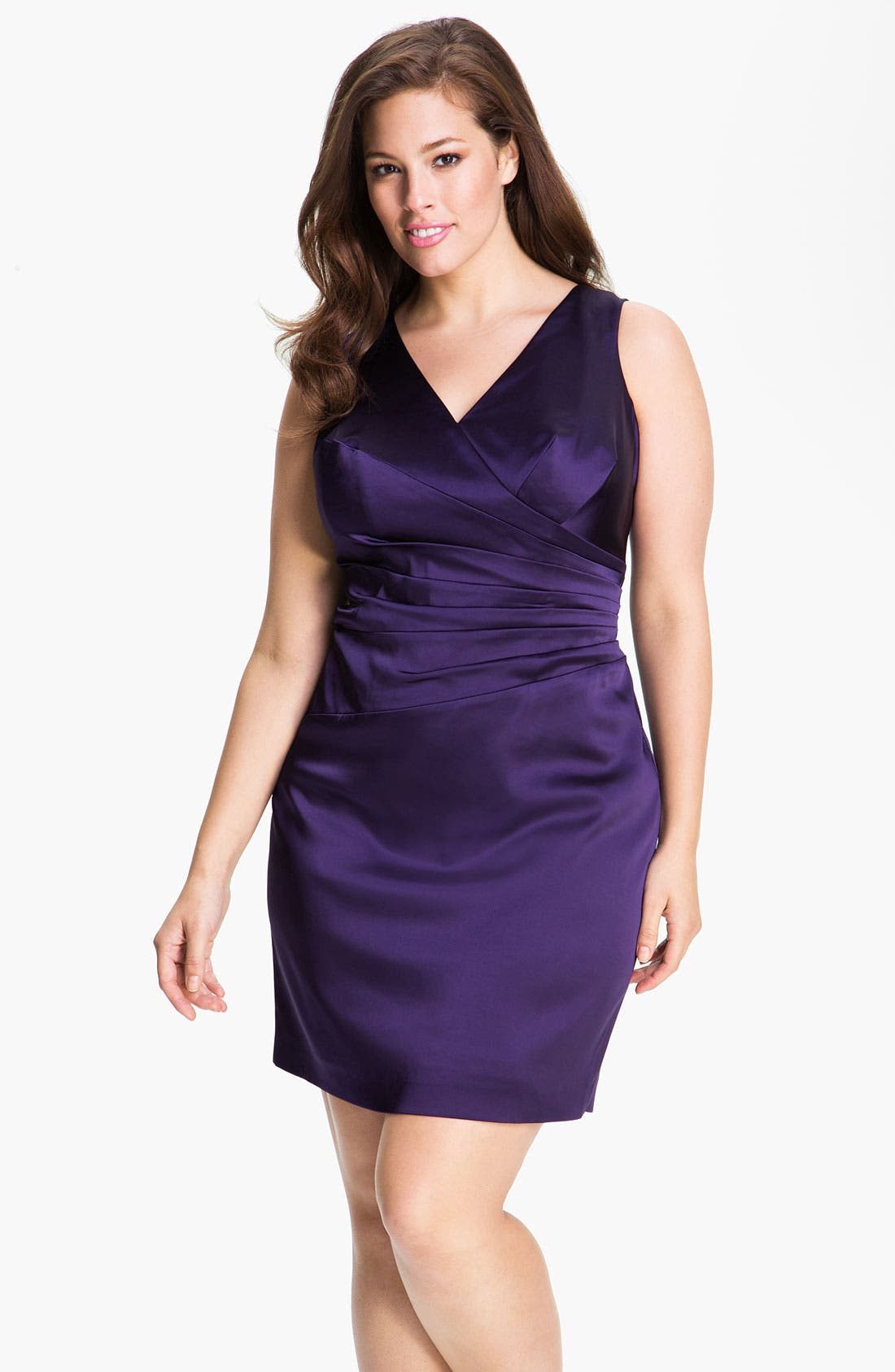 Main Image - Calvin Klein Stretch Satin Sheath Dress (Plus)