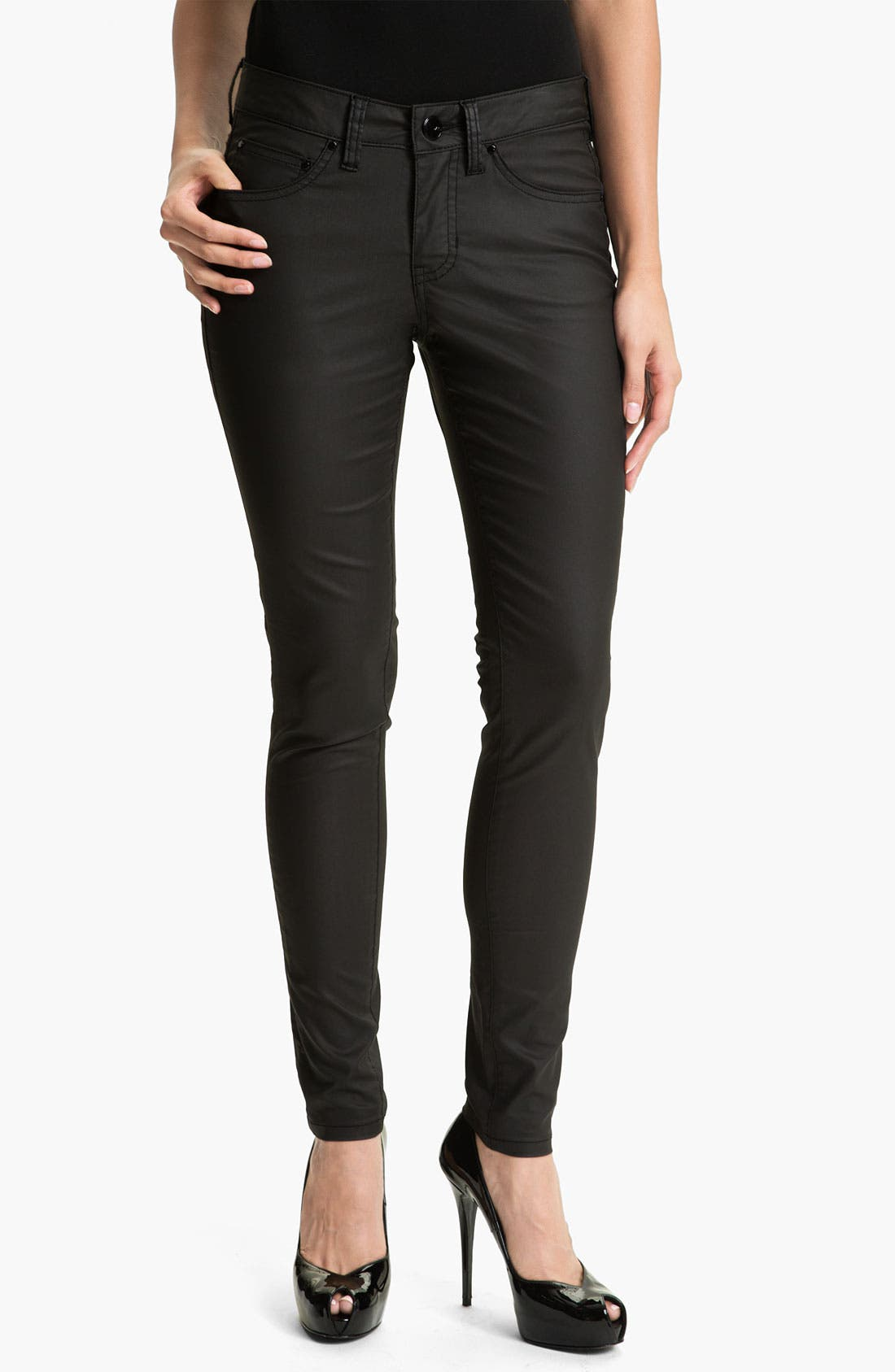 Main Image - Jag Jeans 'Chloe' Faux Leather Pants (Petite)