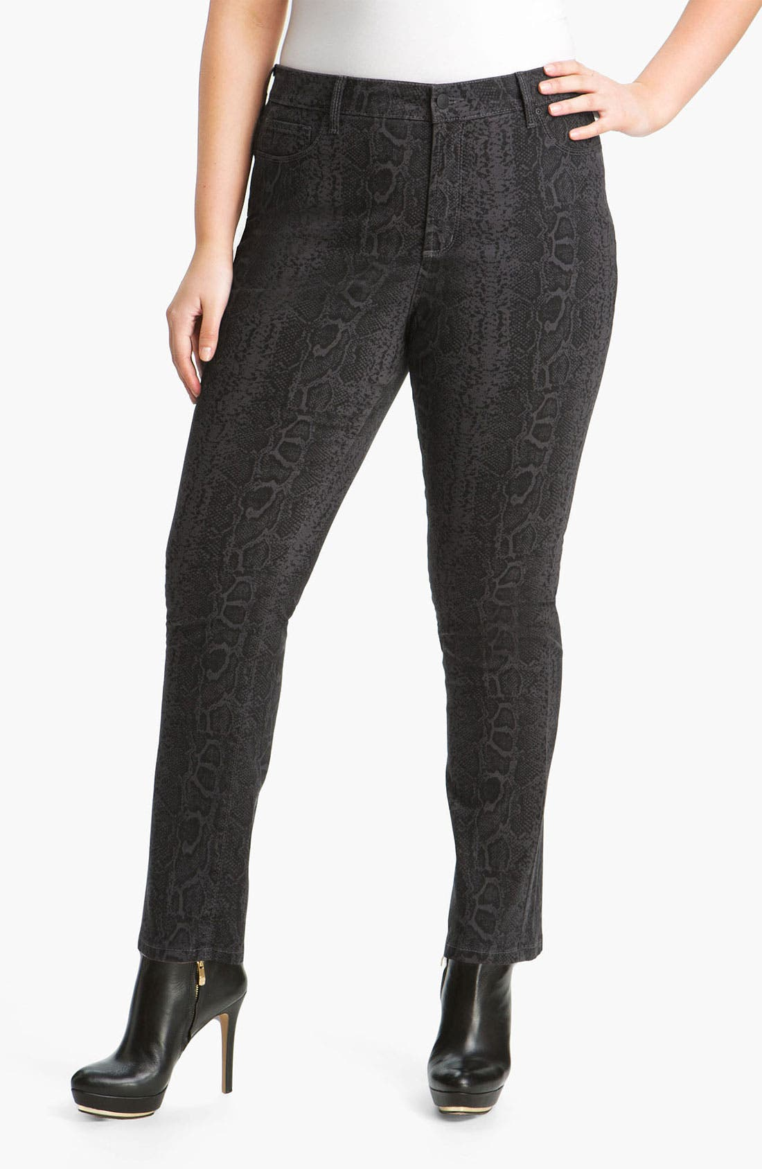 Main Image - NYDJ 'Sheri' Python Print Skinny Twill Jeans (Plus)