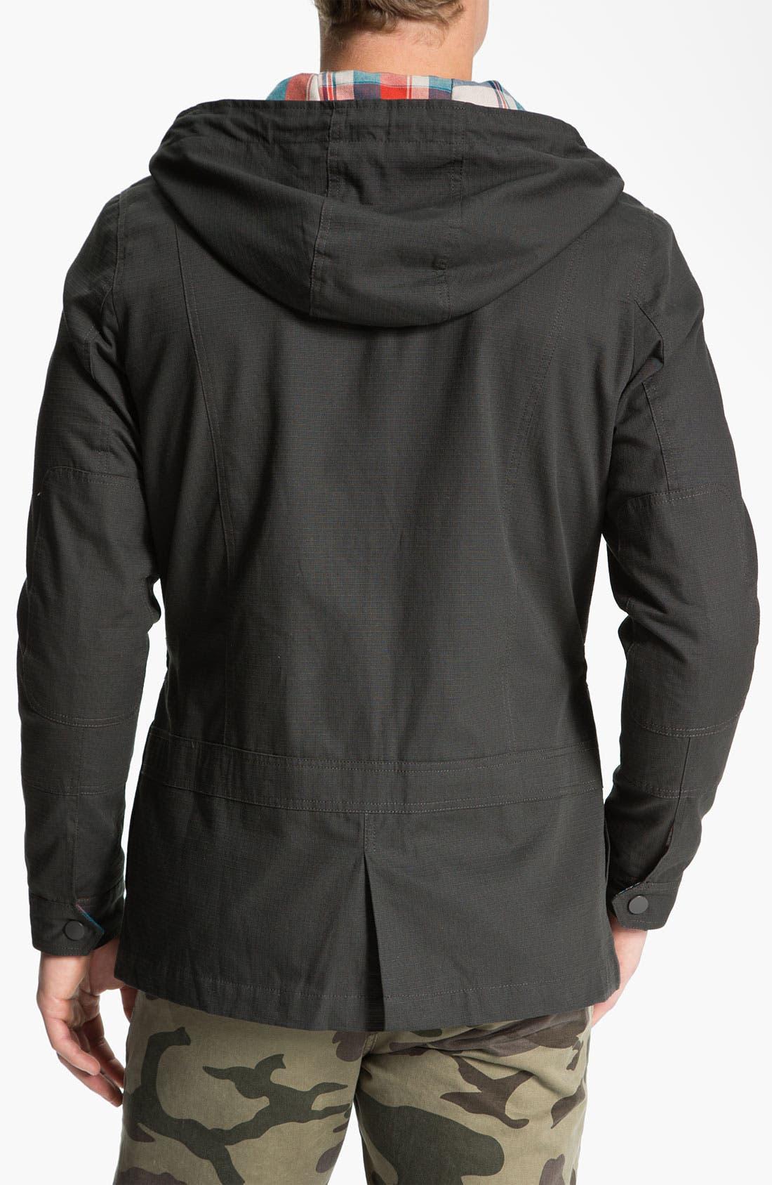Alternate Image 2  - Kane & Unke Ripstop Cotton Trim Fit Hooded Jacket