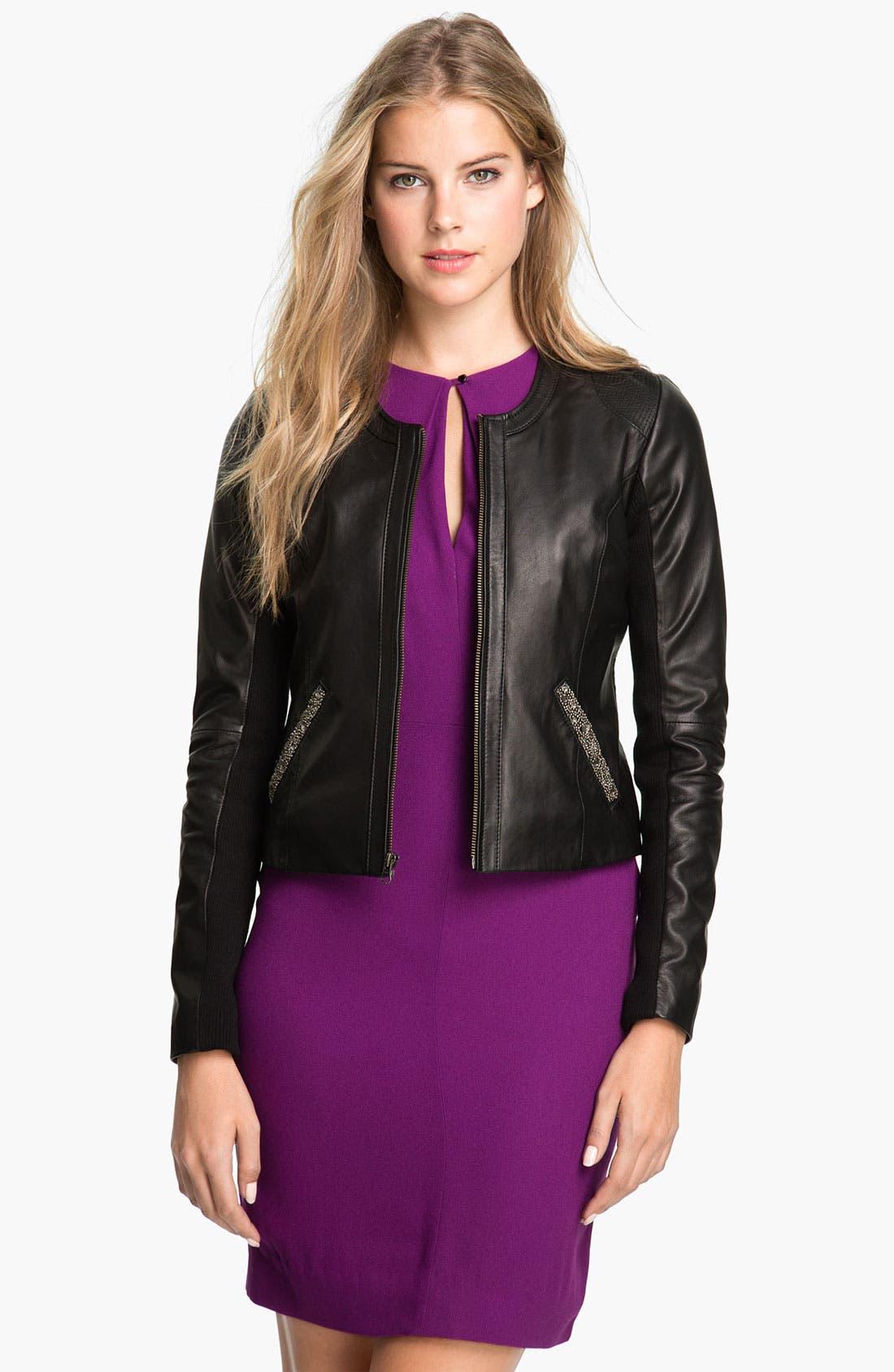 Alternate Image 2  - Badgley Mischka 'Ellie' Beaded Leather Jacket