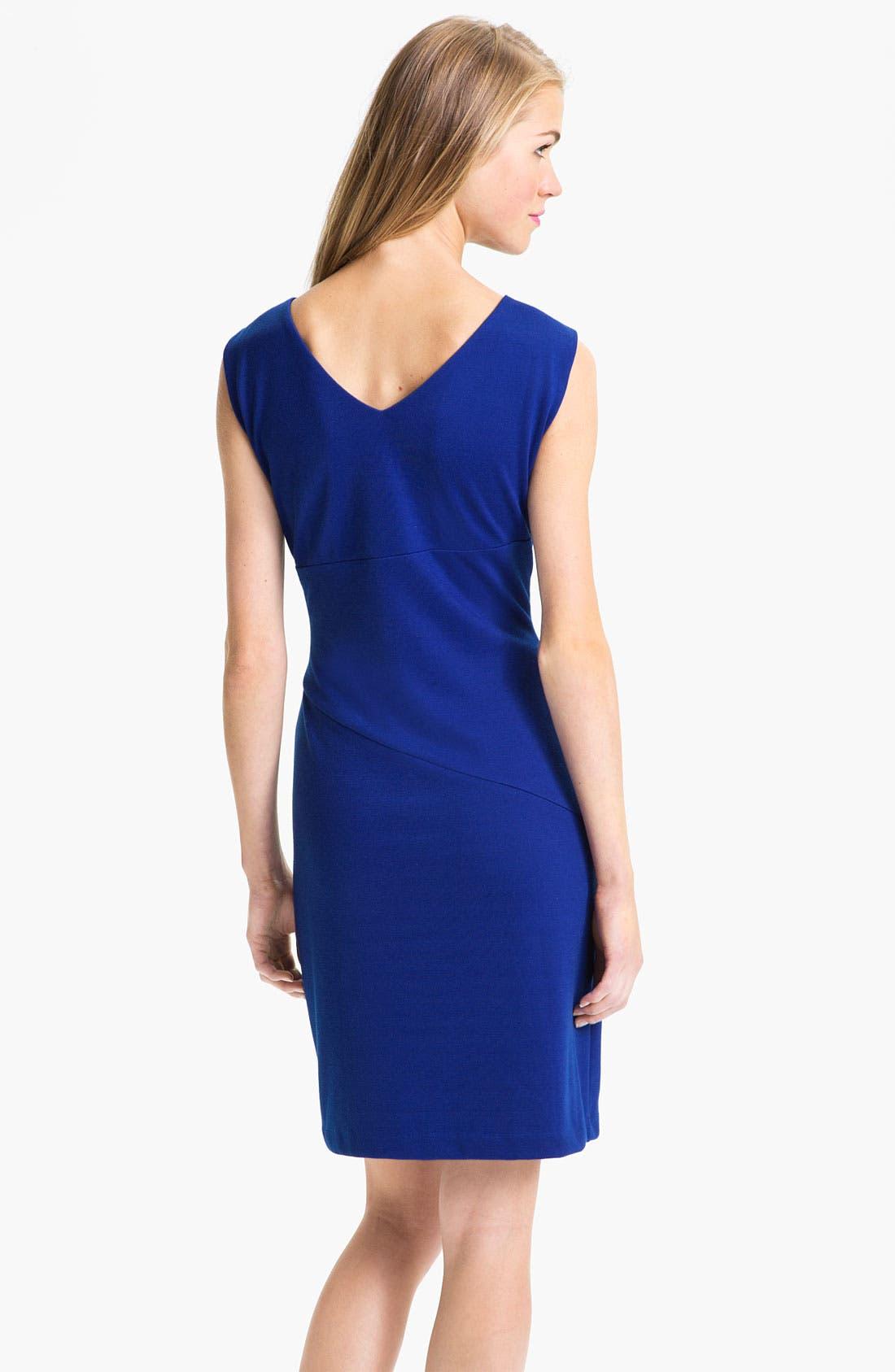 Alternate Image 2  - Donna Morgan Ruched Waist Ponte Sheath Dress