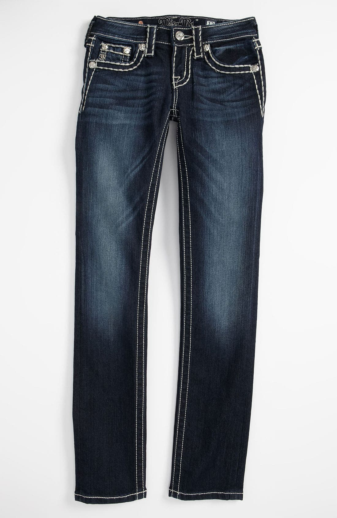 Alternate Image 2  - Miss Me Whip Stitch Skinny Jeans (Big Girls)