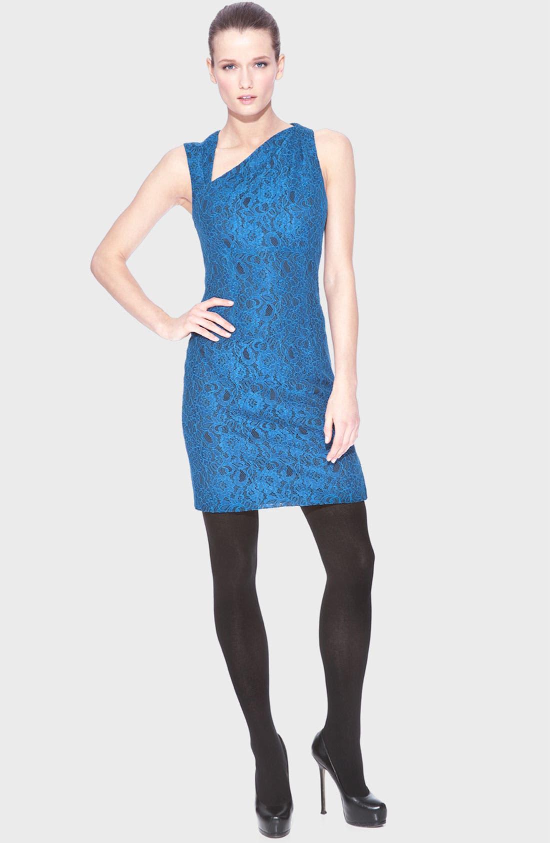 Main Image - Marc New York Asymmetrical Neck Lace Sheath Dress