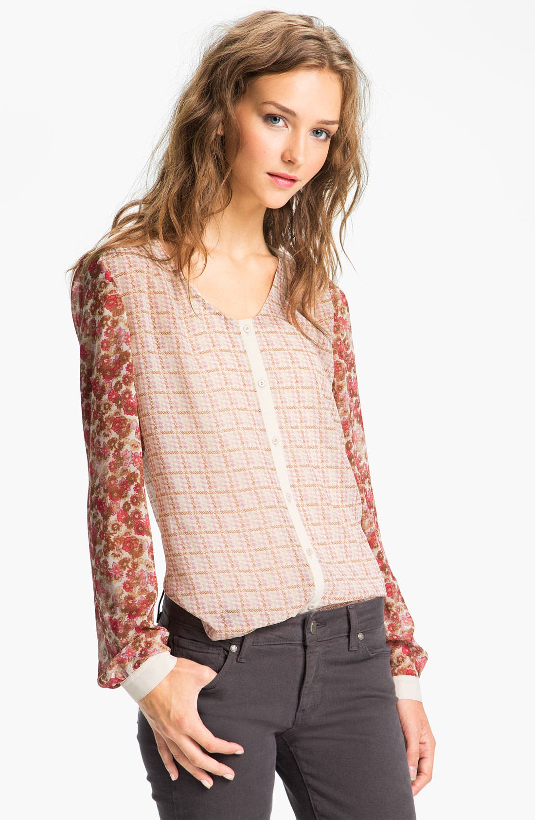 Alternate Image 1 Selected - Hinge Mix Print Chiffon Blouse