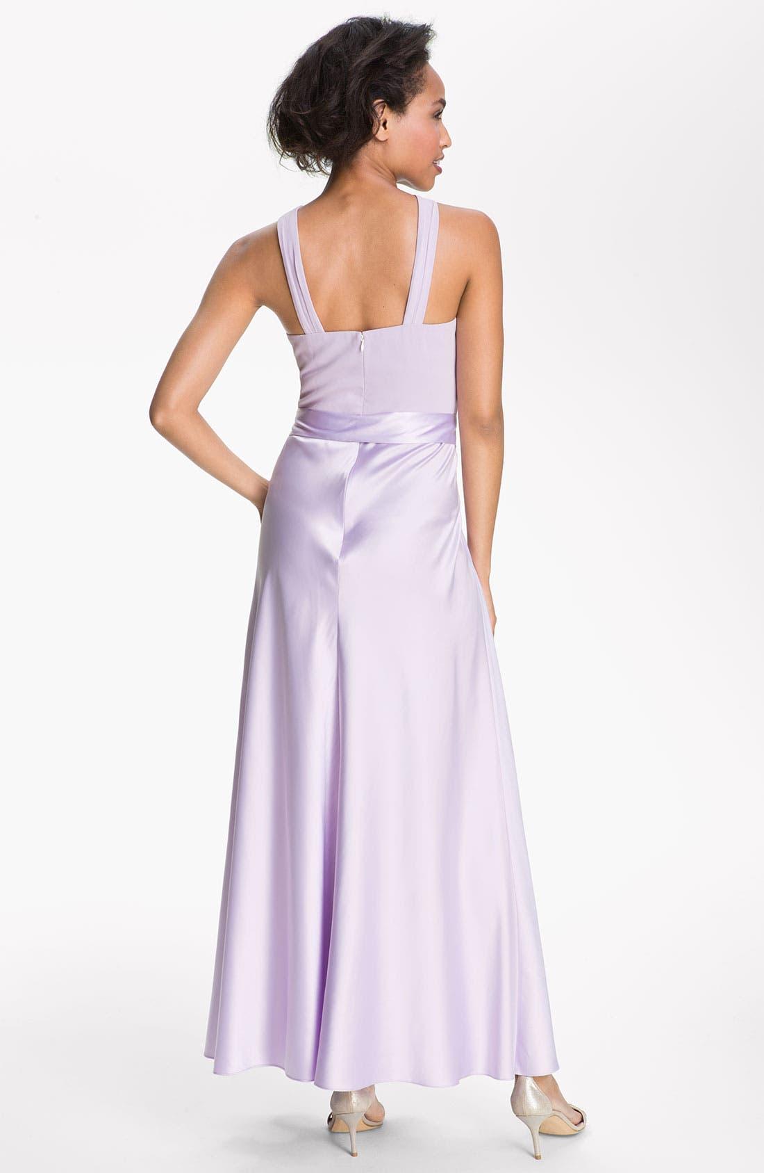 Alternate Image 2  - Donna Morgan Cross Strap Chiffon & Charmeuse Gown
