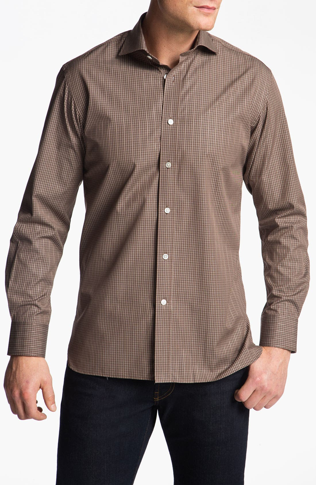 Main Image - Hickey Freeman Regular Fit Check Sport Shirt