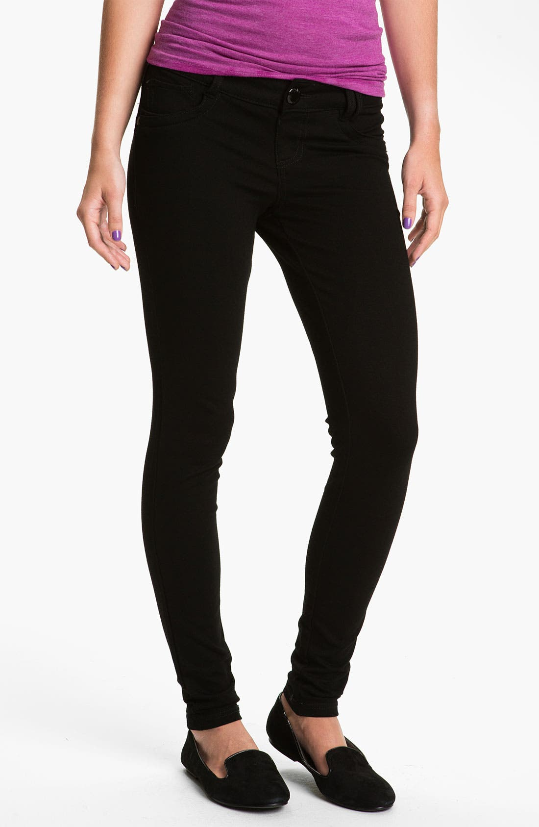 Main Image - Jolt Ponte Knit Skinny Pants (Juniors)