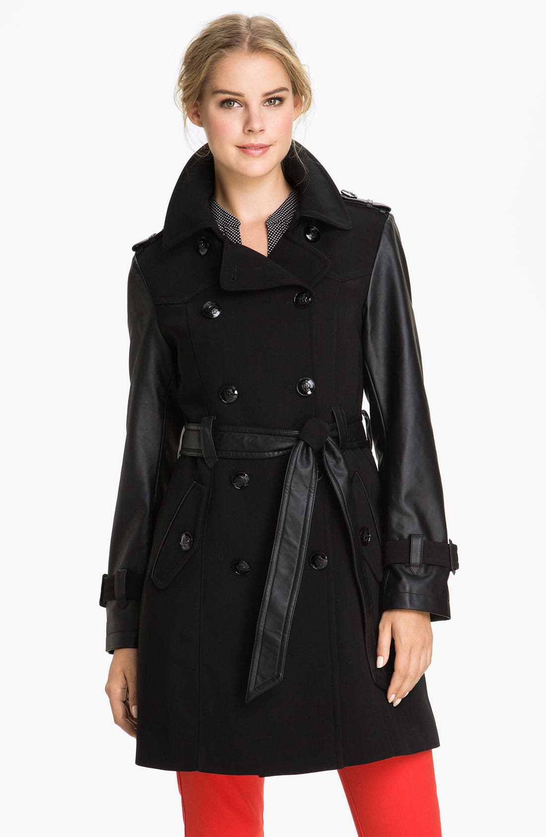 Main Image - 1 Madison Faux Leather Sleeve Trench Coat