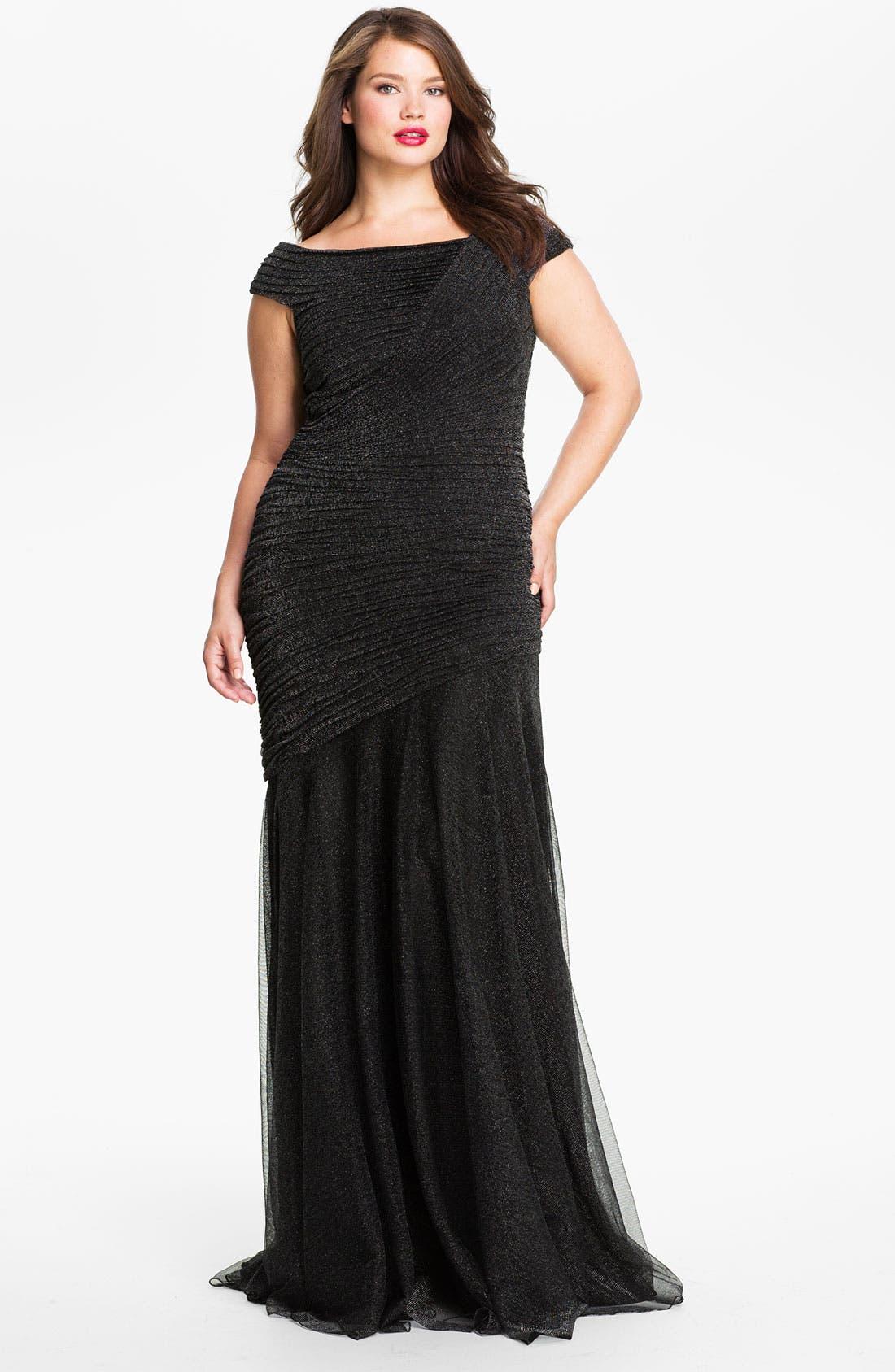 Alternate Image 1 Selected - Tadashi Shoji Ruched Metallic Gown (Plus Size)