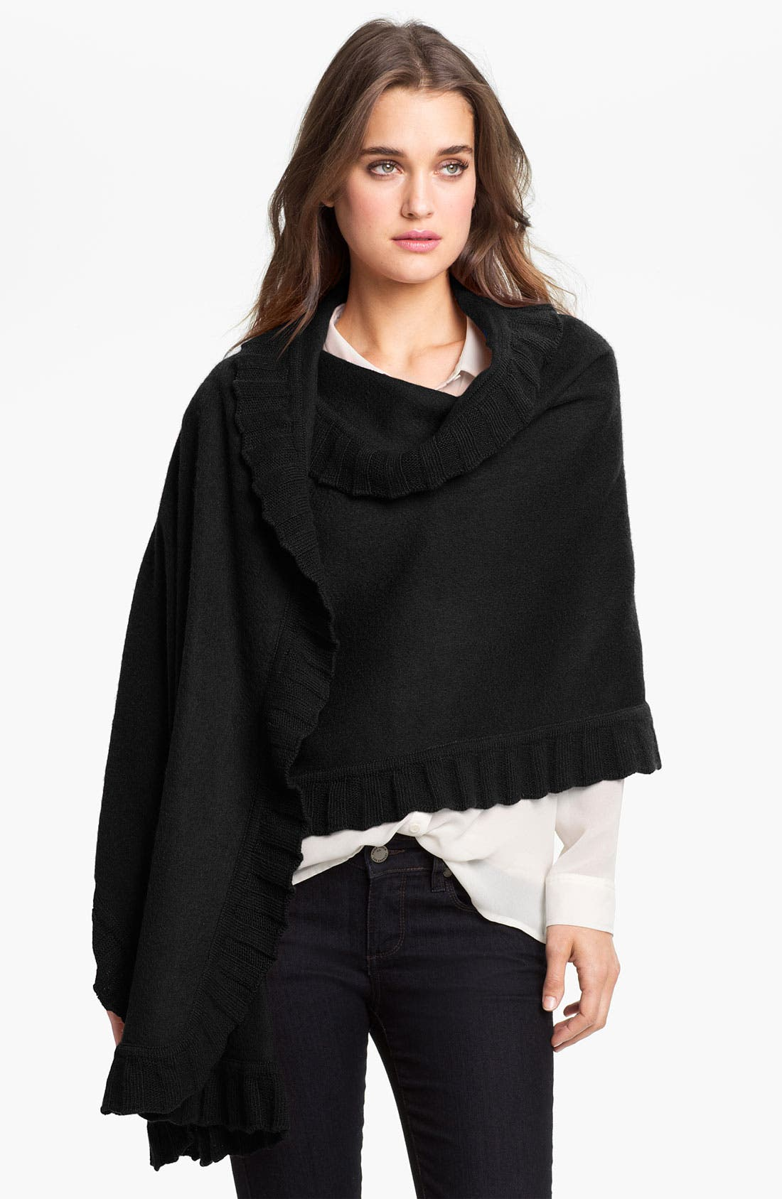 Alternate Image 1 Selected - Nordstrom Wool & Cashmere Ruffle Wrap