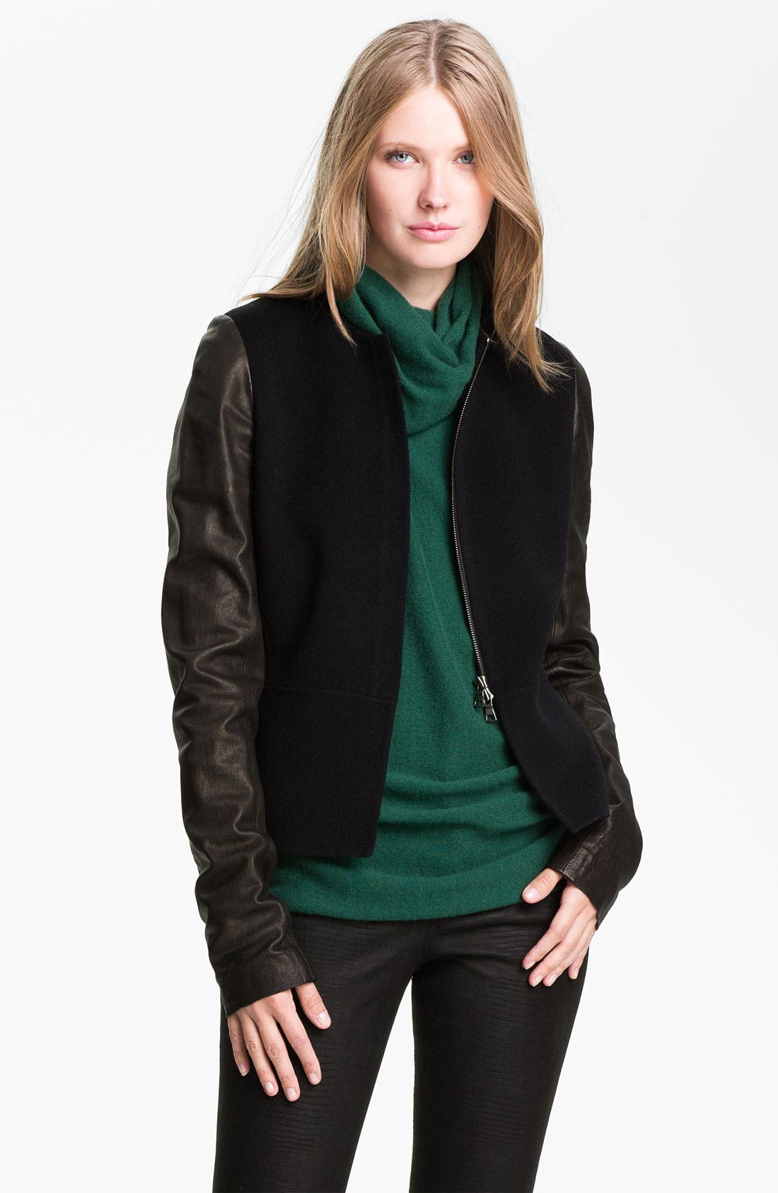 Main Image - Vince Wool & Leather Jacket