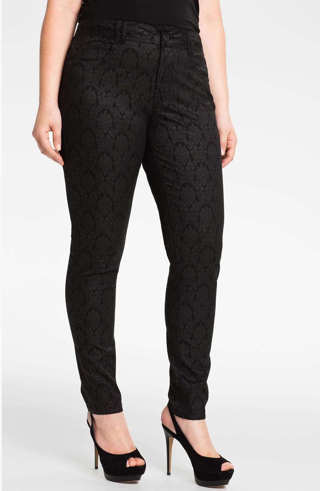 Main Image - Wit & Wisdom Brocade Denim Leggings (Plus) (Nordstrom Exclusive)