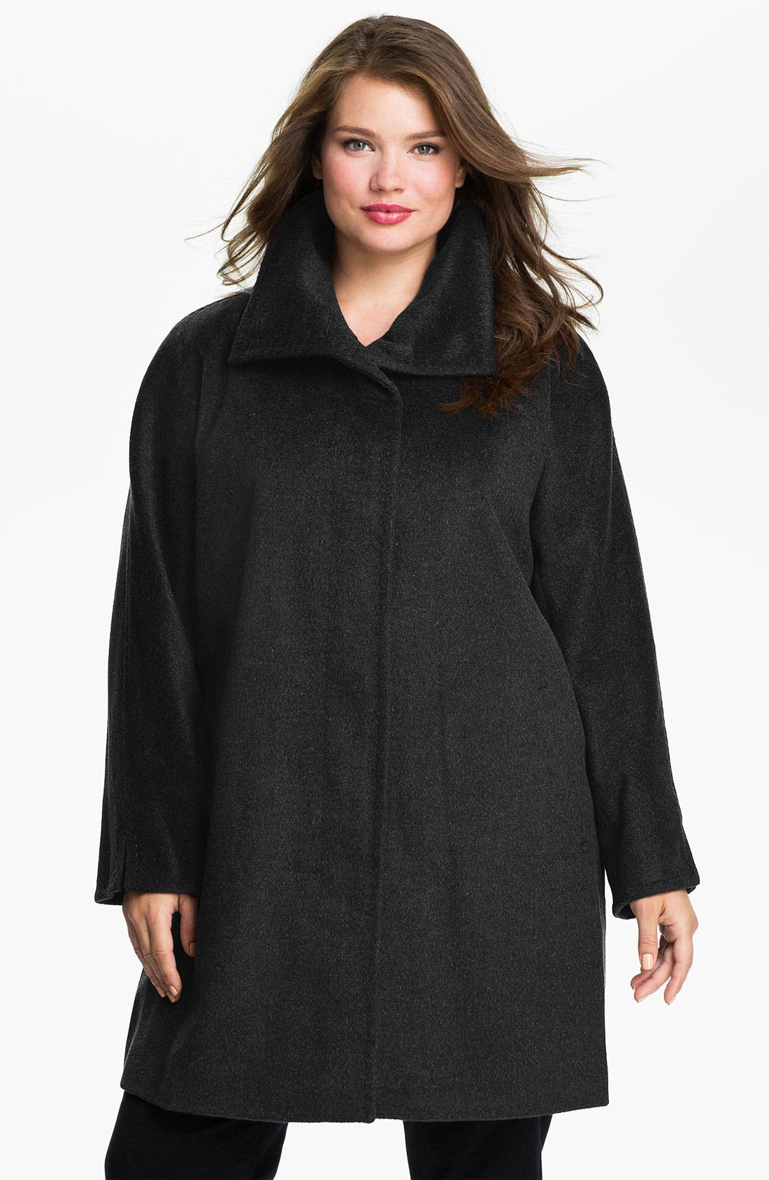 Alternate Image 1 Selected - Ellen Tracy Convertible Collar A-Line Coat (Plus) (Online Exclusive)