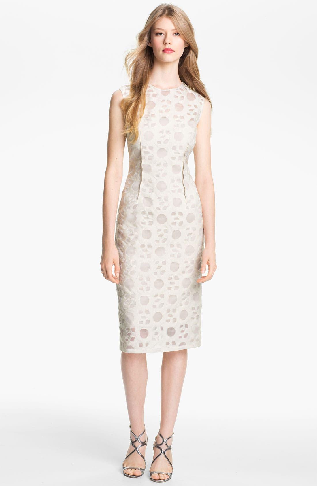 Alternate Image 1 Selected - Lela Rose Pintucked Waist Sheath Dress