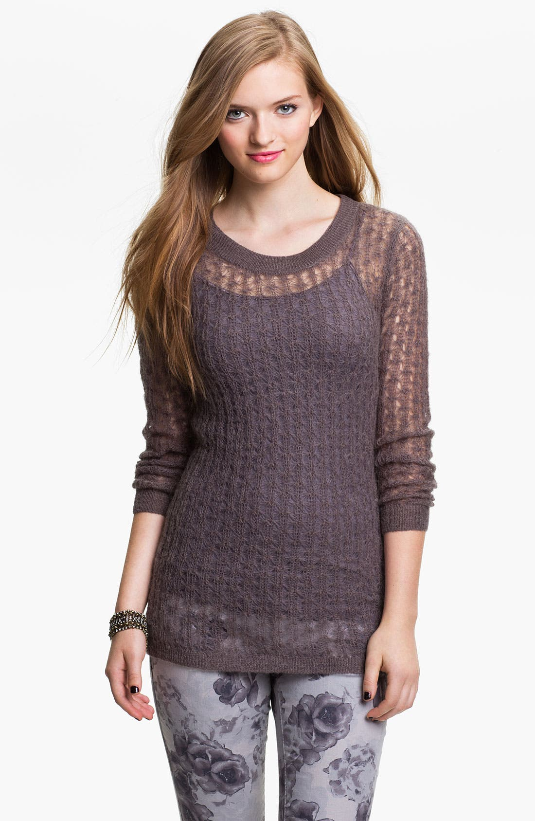 Alternate Image 1 Selected - Frenchi® Sheer Pointelle Sweater (Juniors)
