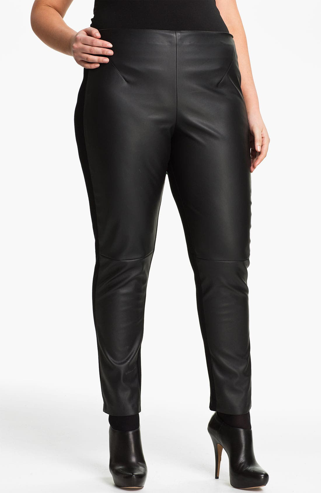 Main Image - Two by Vince Camuto Faux Leather & Knit Leggings (Plus)