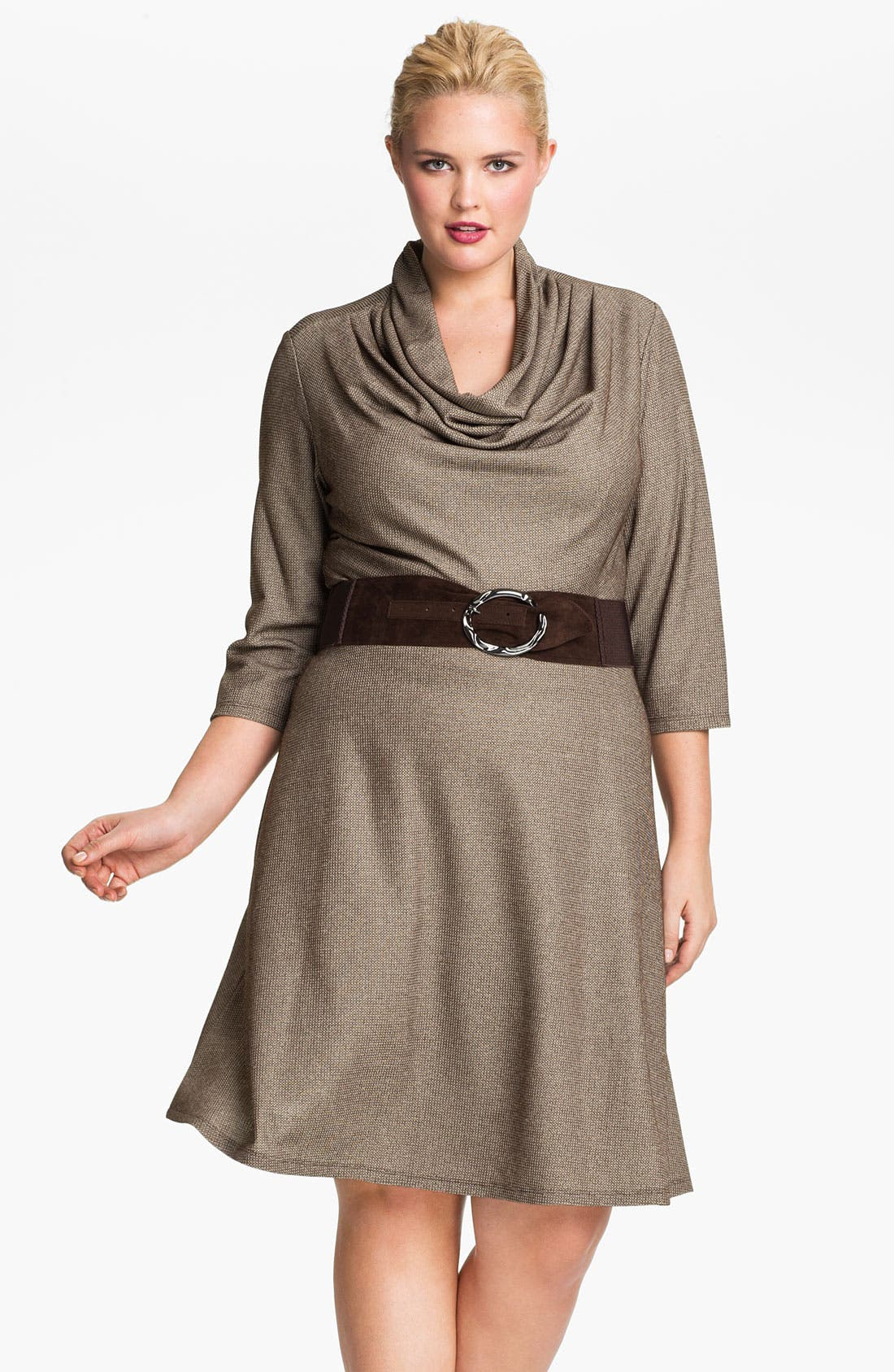 Main Image - Eliza J Belted Cowl Neck Dress (Plus)