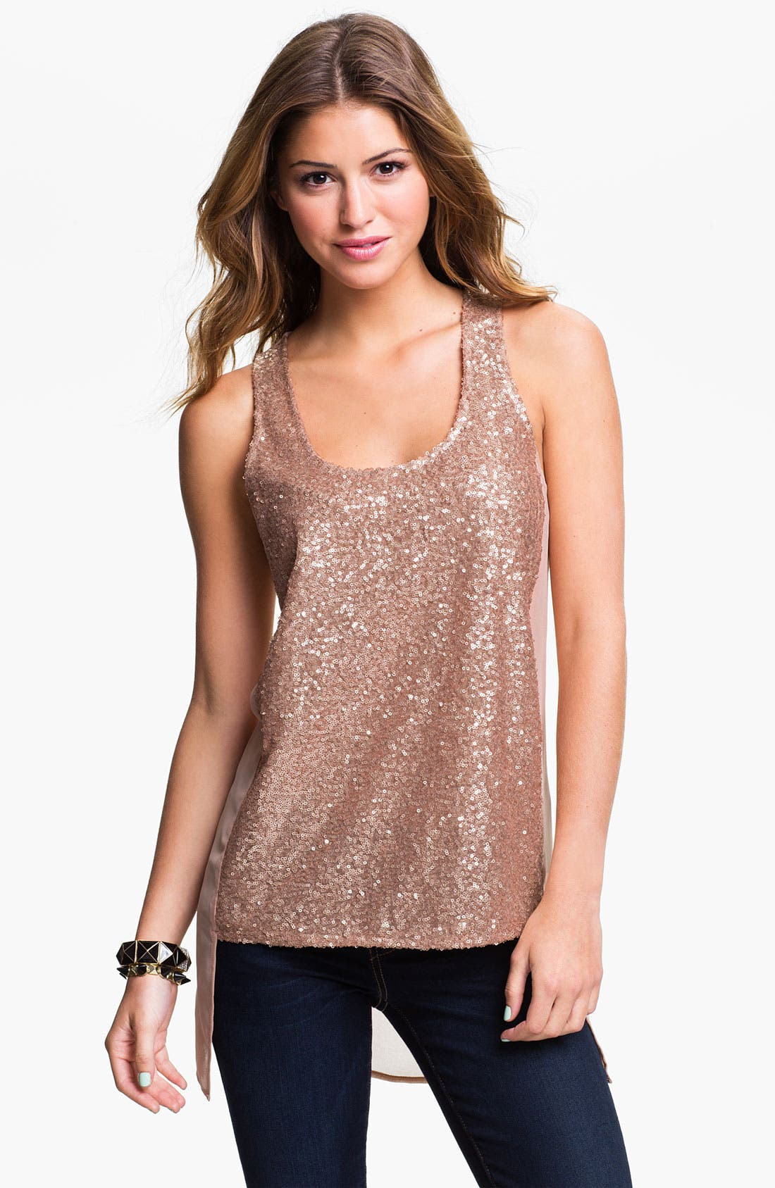 Alternate Image 1 Selected - Lush Sequin Tank (Juniors)