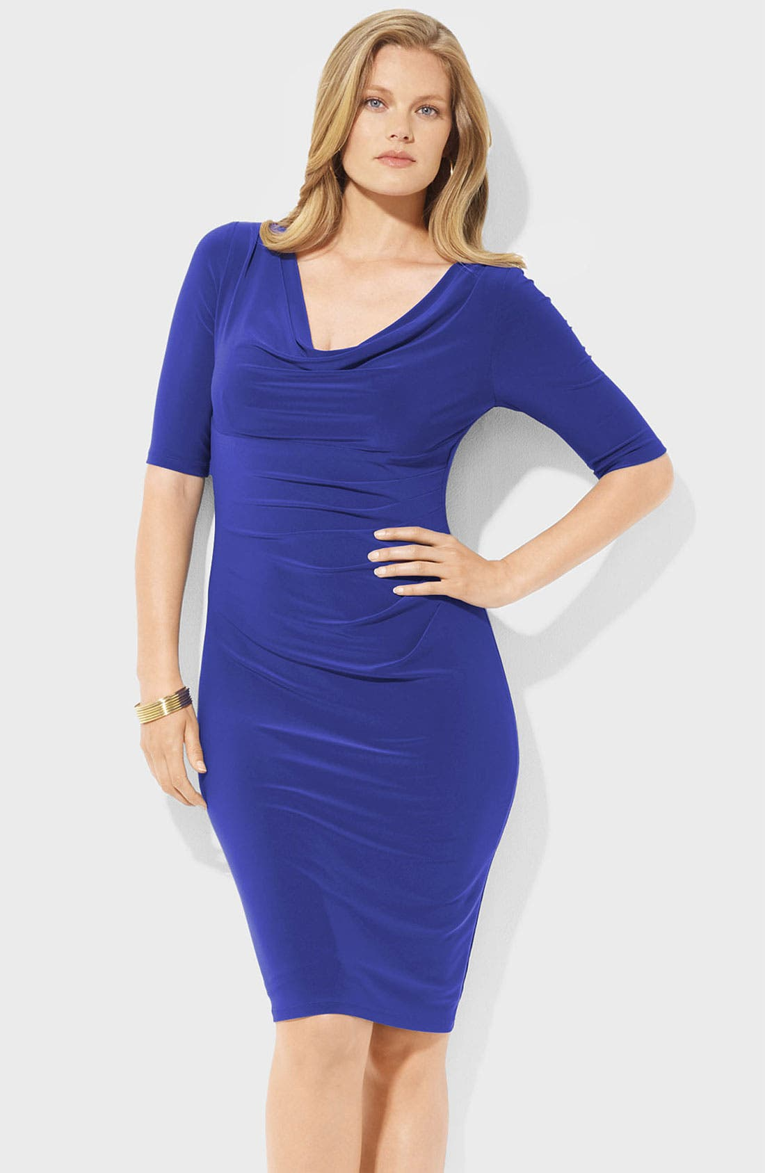 Main Image - Lauren Ralph Lauren Cowl Neck Jersey Sheath Dress (Plus)