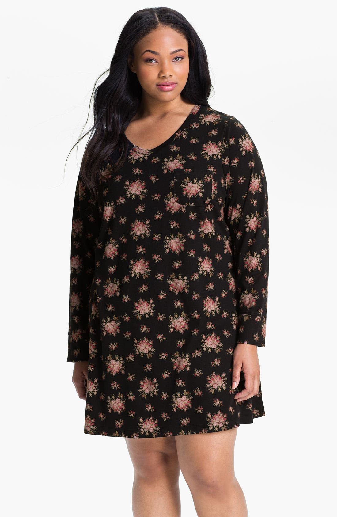 Alternate Image 1 Selected - Carole Hochman Floral Print Interlock Sleep Shirt (Plus)