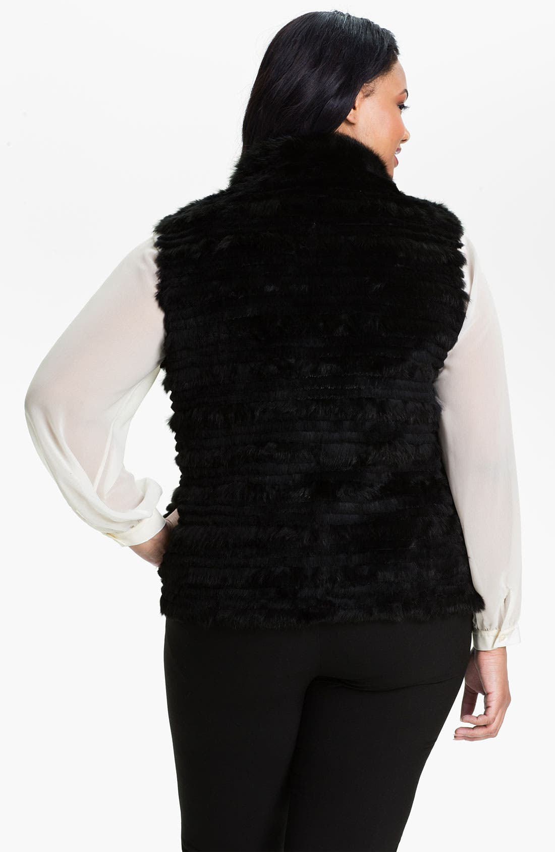 Alternate Image 2  - George Simonton Couture Genuine Rabbit Fur & Silk Reversible Vest (Plus)