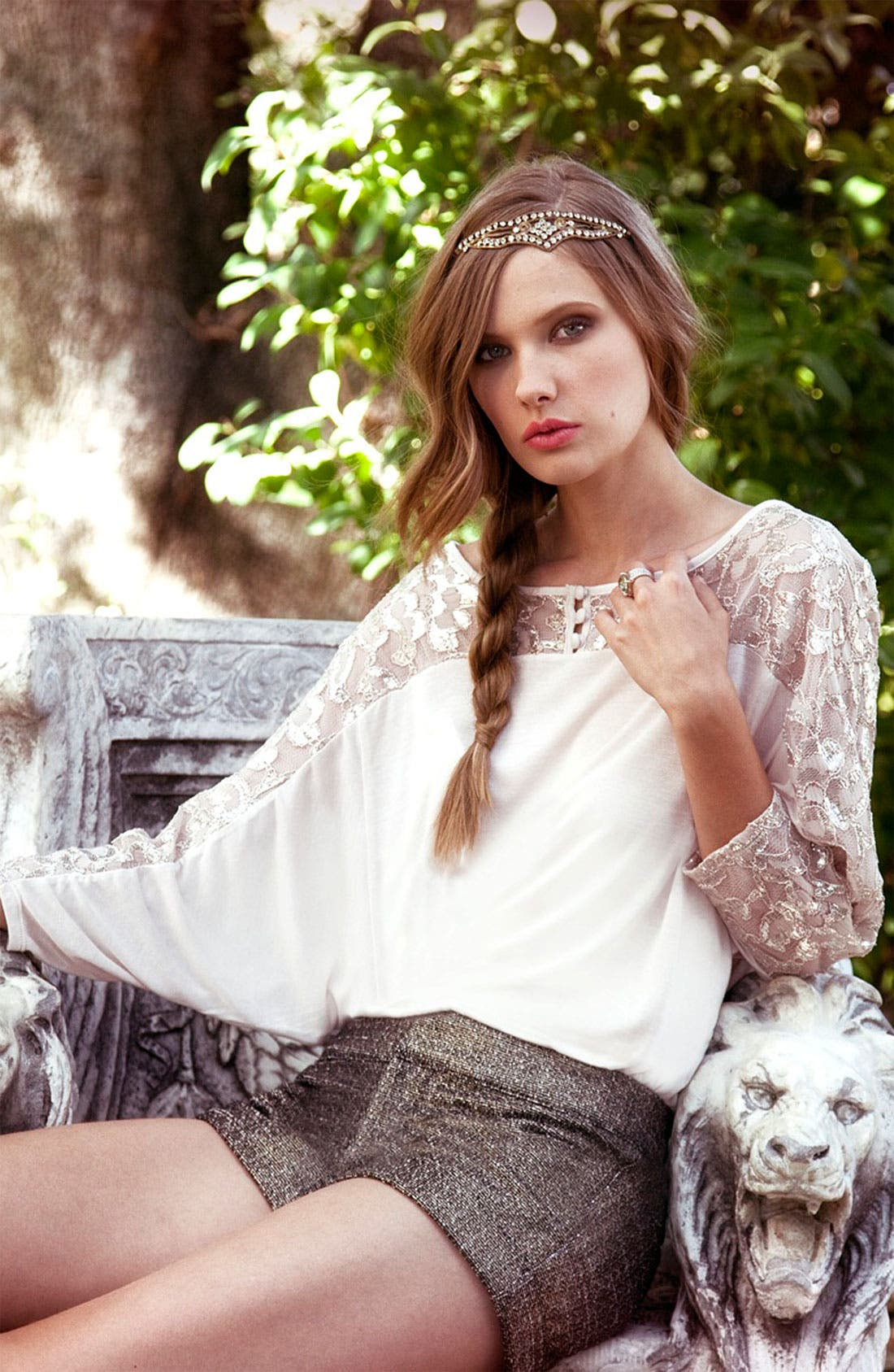 Alternate Image 4  - Ella Moss Lace Sleeve Dolman Top