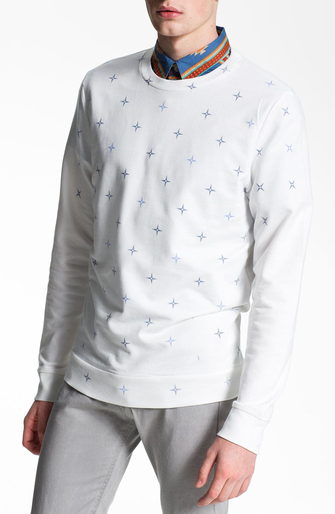 Main Image - Topman All Over Star Pattern Crewneck Sweatshirt (Nordstrom Exclusive)
