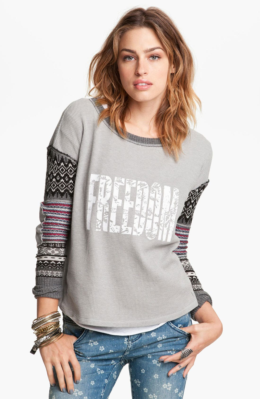 Alternate Image 1 Selected - Free People 'Freedom' Mixed Media Top
