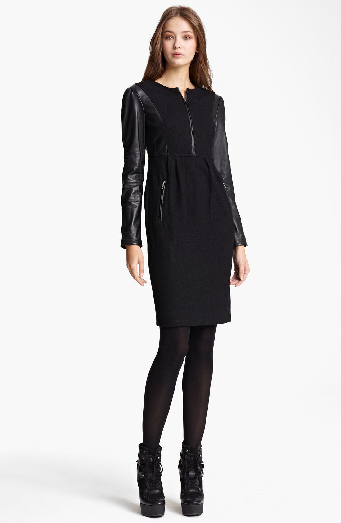 Main Image - Burberry Brit Leather Sleeve Dress