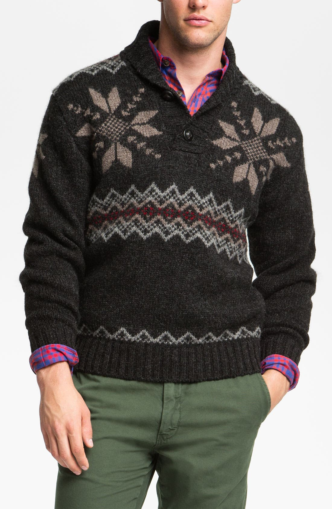 Alternate Image 1 Selected - Pendleton Fair Isle Shawl Collar Shetland Wool Sweater