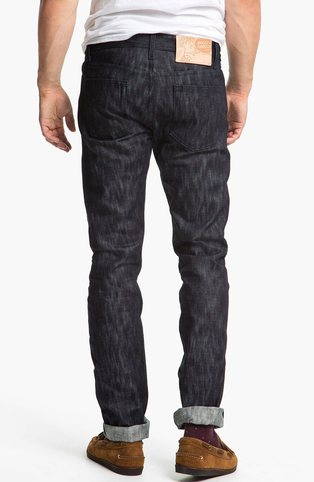 Alternate Image 1 Selected - Naked & Famous Denim 'Weird Guy' Slim Tapered Leg Selvedge Jeans (Slubbed Indigo)